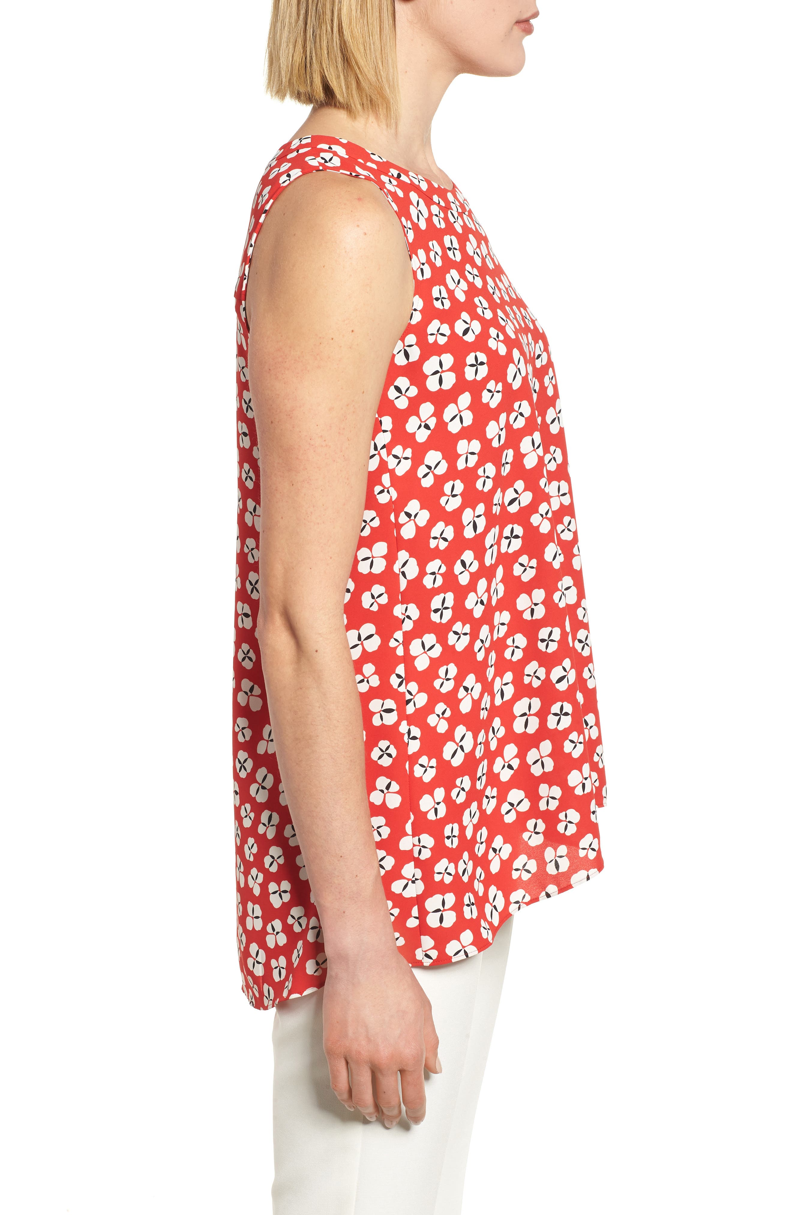 Floral High/Low Swing Top,                             Alternate thumbnail 3, color,
