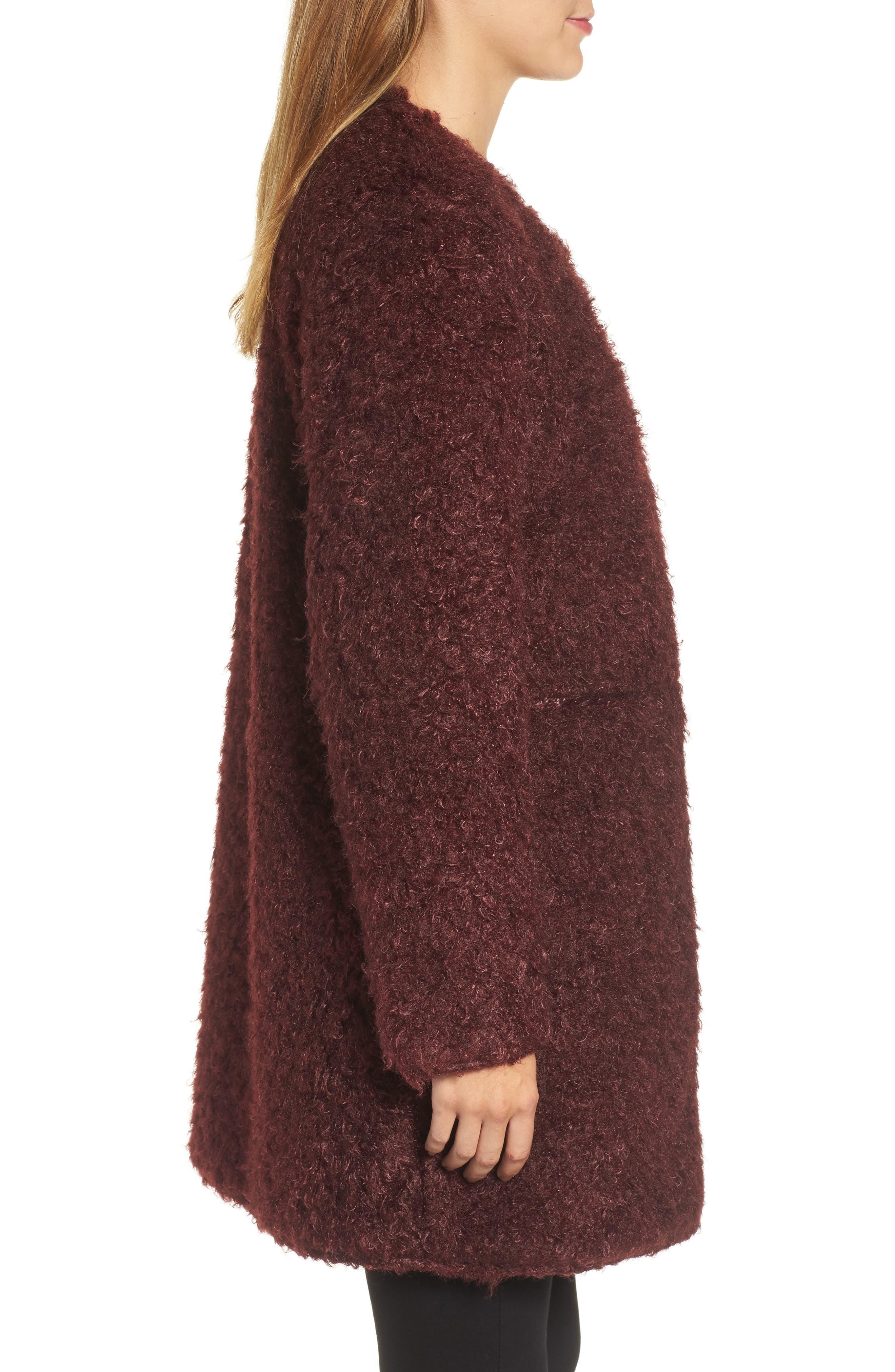 Reversible Faux Fur Coat,                             Alternate thumbnail 3, color,                             602