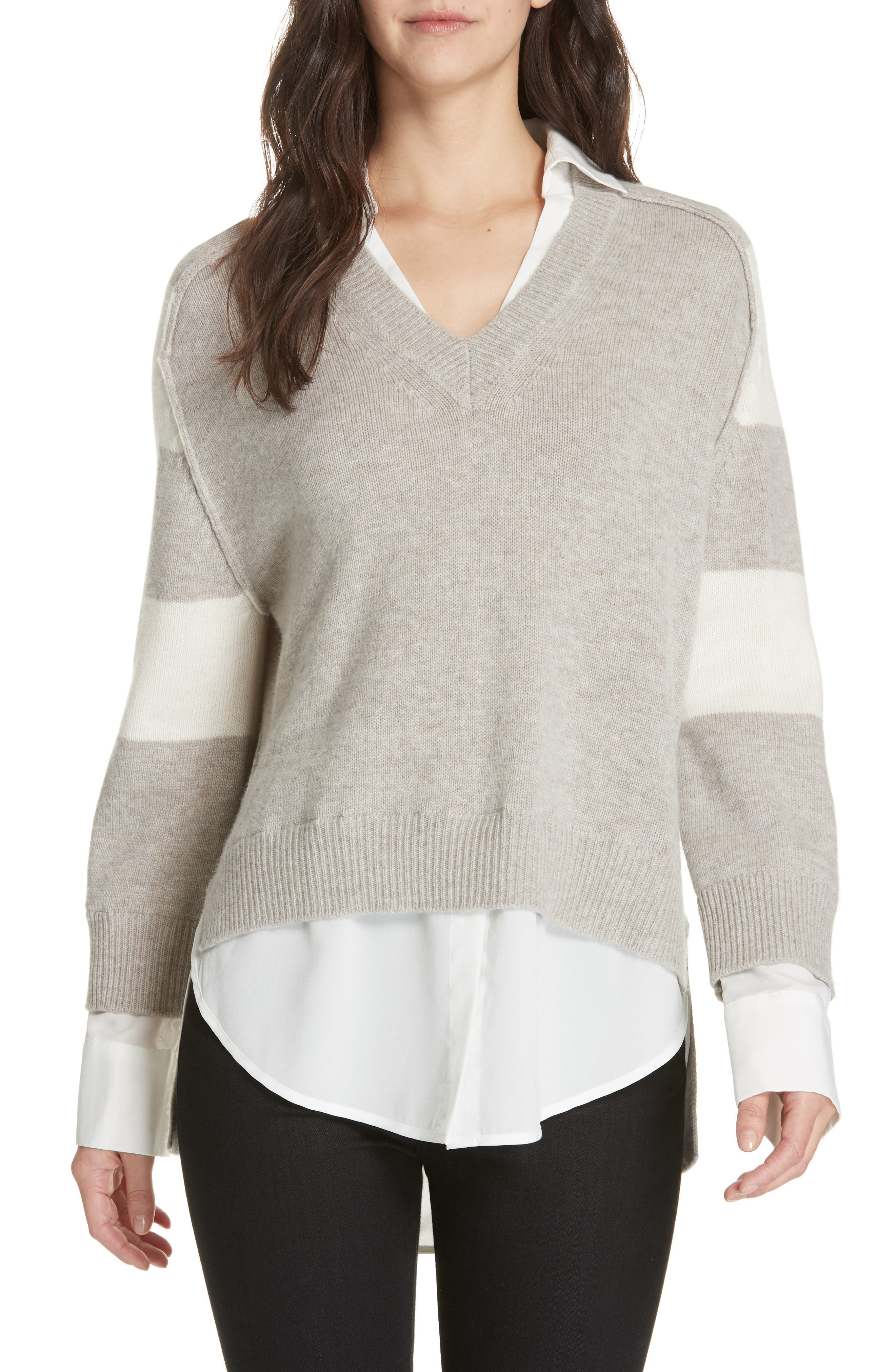 Layered Wool & Cashmere Sweater,                             Main thumbnail 1, color,                             LIGHT CHIA STRIPE