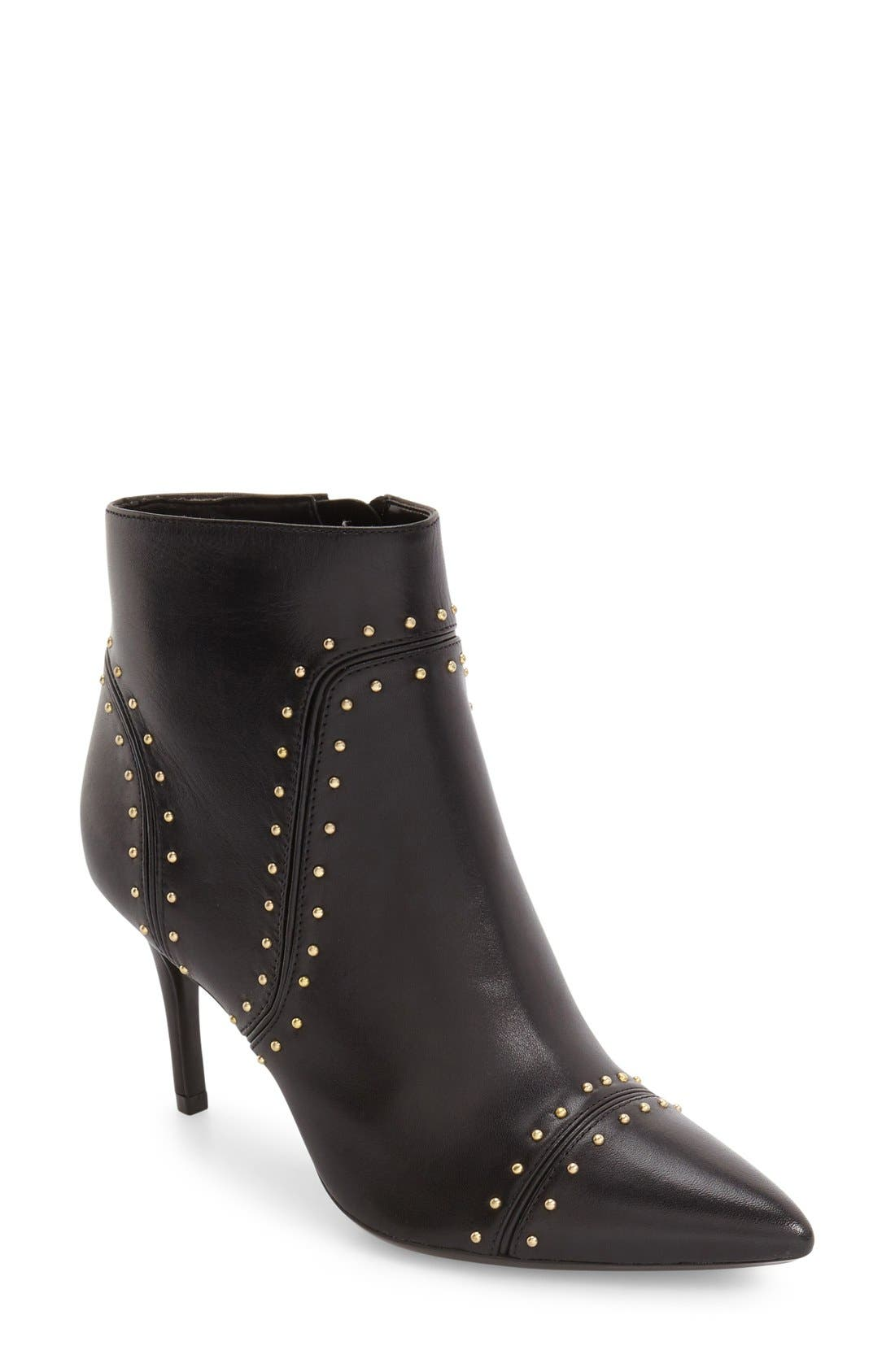 Grazie Studded Pointy Toe Bootie,                             Main thumbnail 1, color,                             001