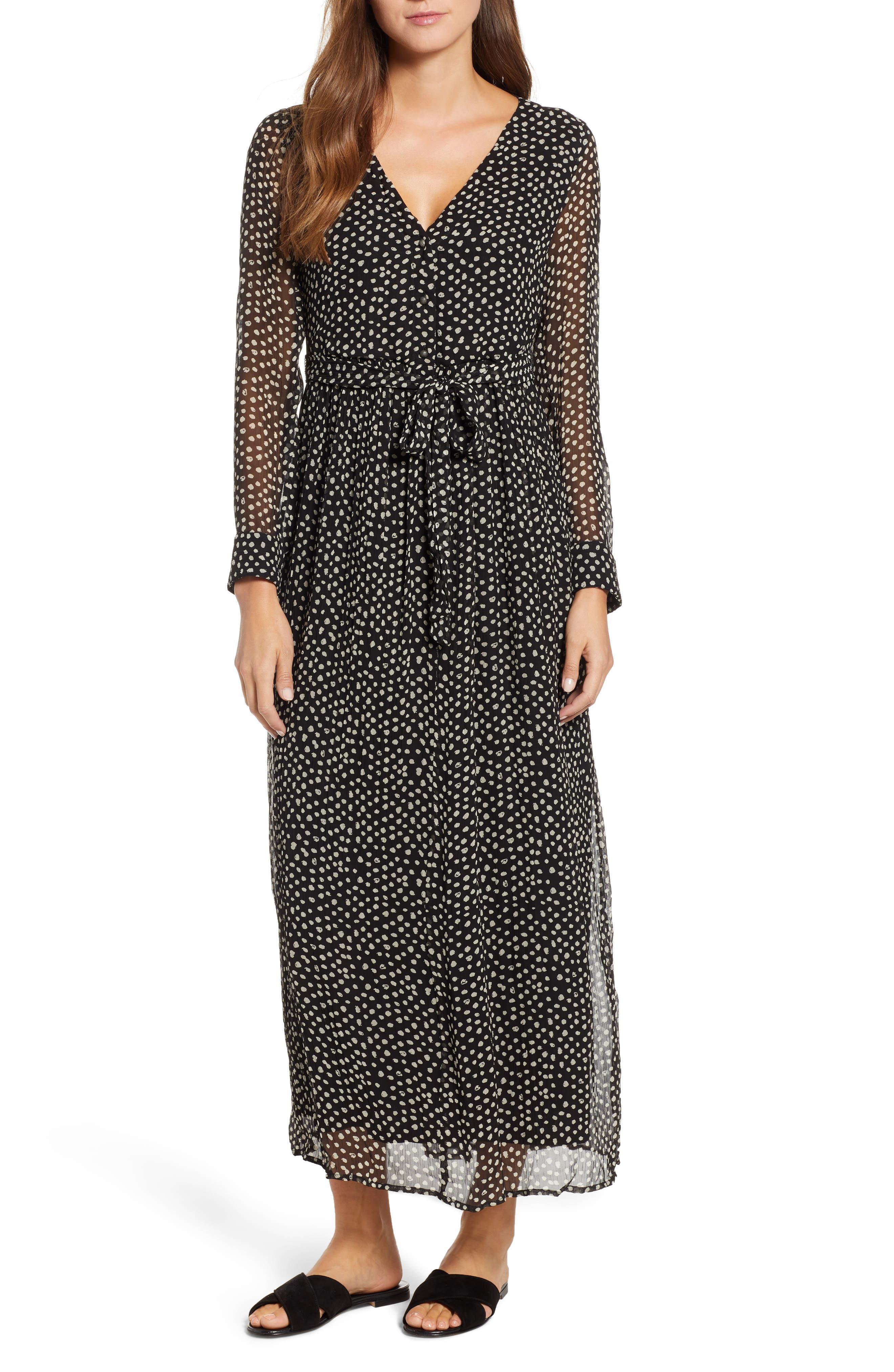 Lucky Brand Polka Dot Maxi Dress, Black