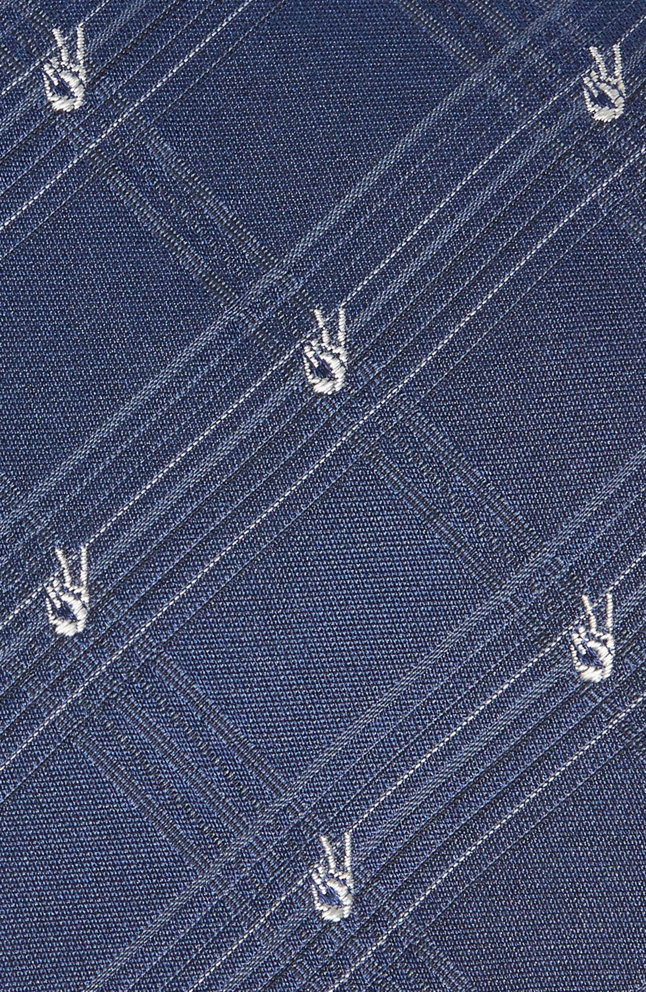 Peace Sign Plaid Silk Tie,                             Alternate thumbnail 2, color,                             405