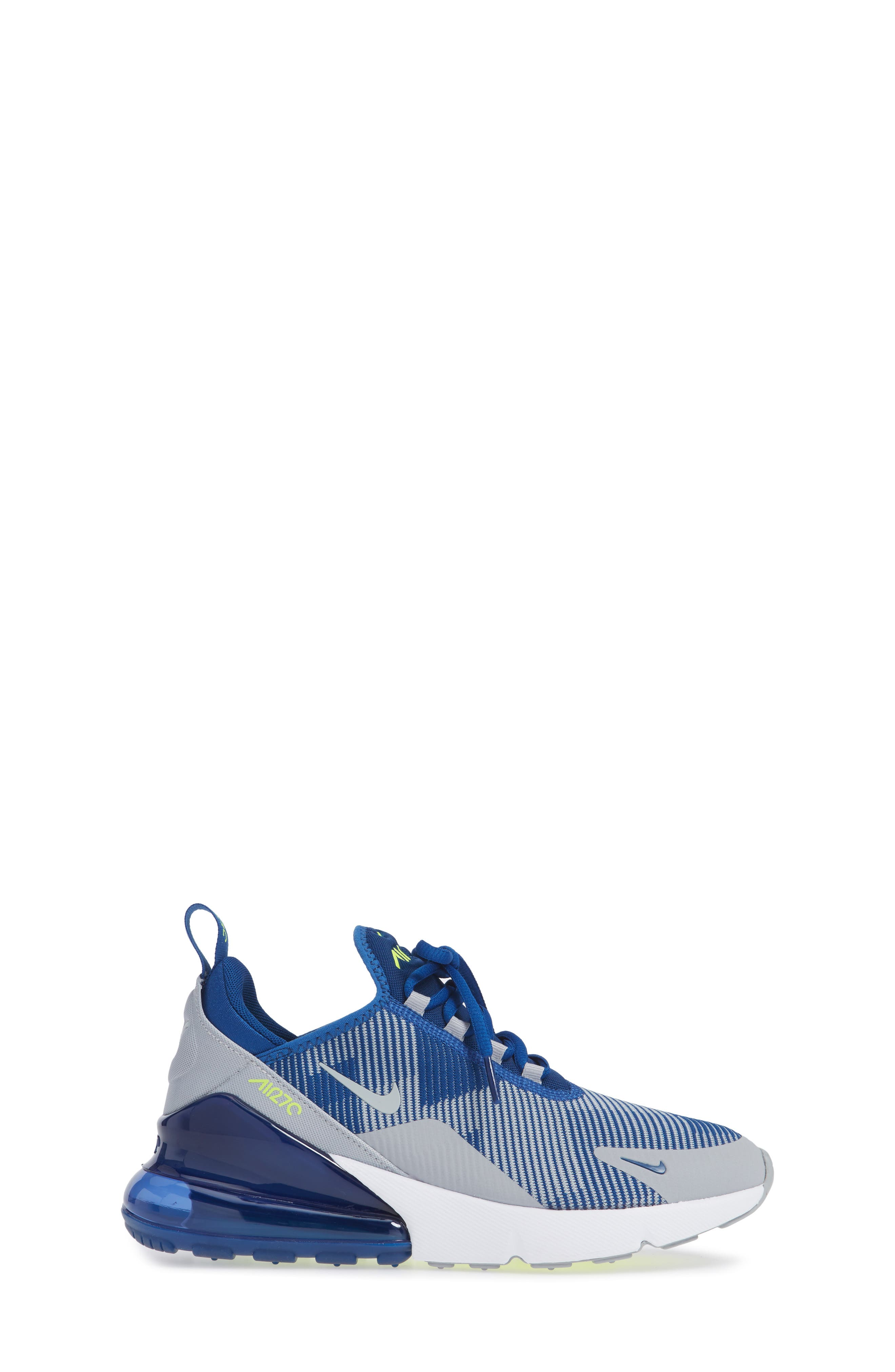 Air Max 270 Sneaker,                             Alternate thumbnail 3, color,                             BLUE/ GREY/ VOLT/ WHITE