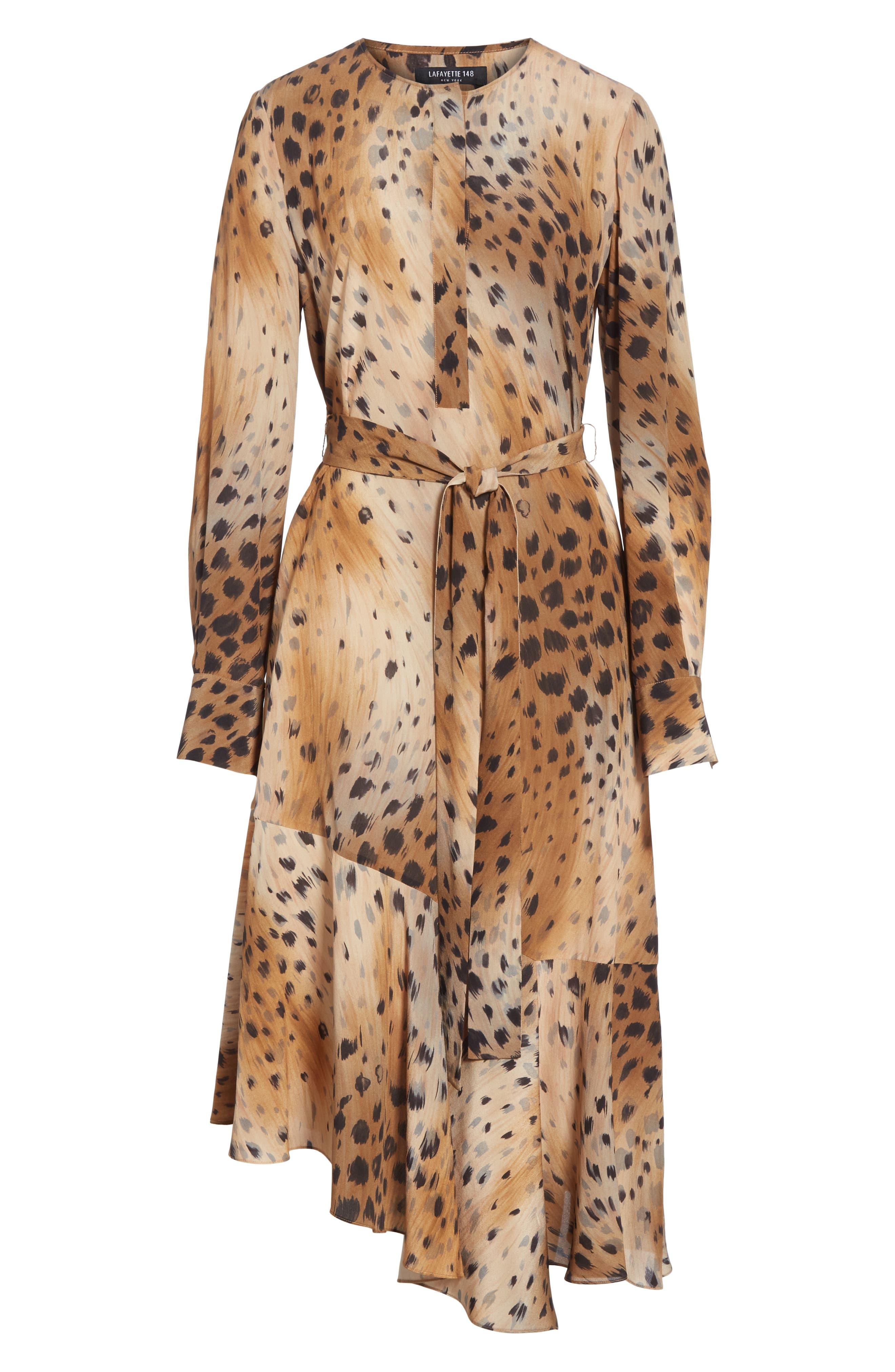 Delancy Silk Dress,                             Alternate thumbnail 7, color,                             SADDLE MULTI