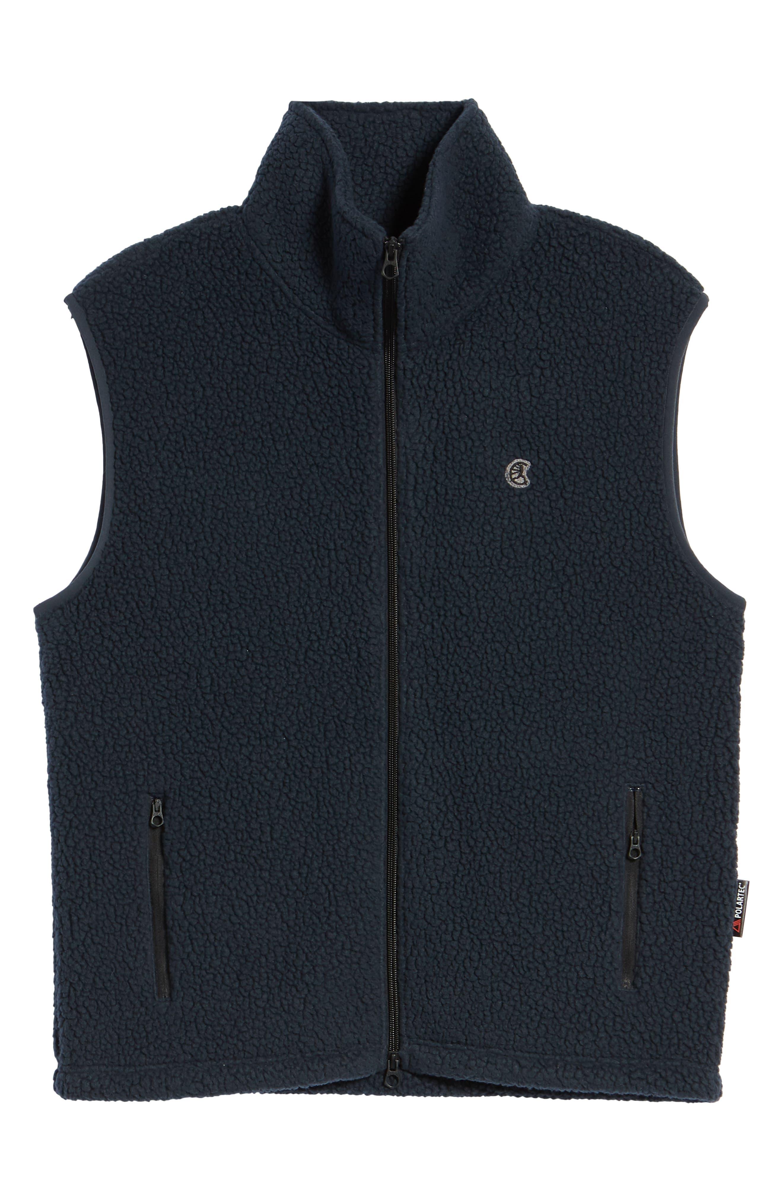 Fleece Zip Vest,                             Alternate thumbnail 6, color,                             NAVY