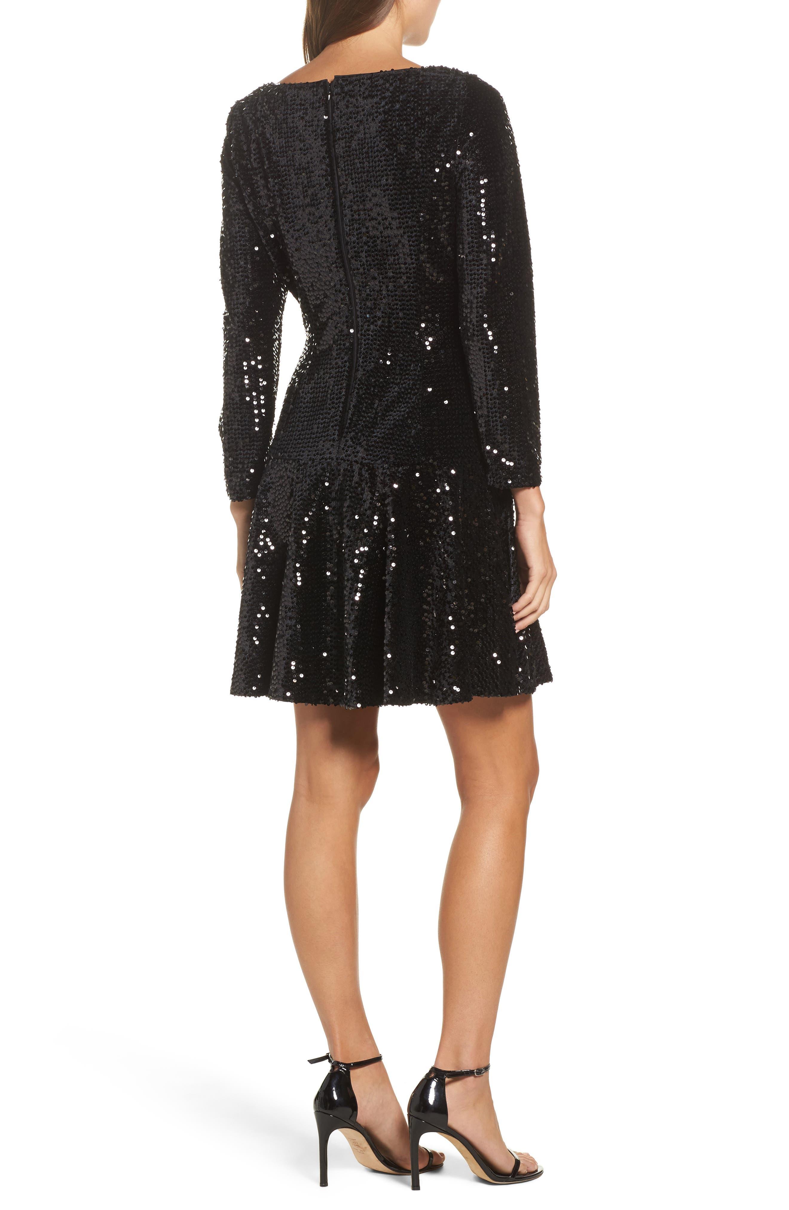 Sequin Fit & Flare Dress,                             Alternate thumbnail 2, color,                             001