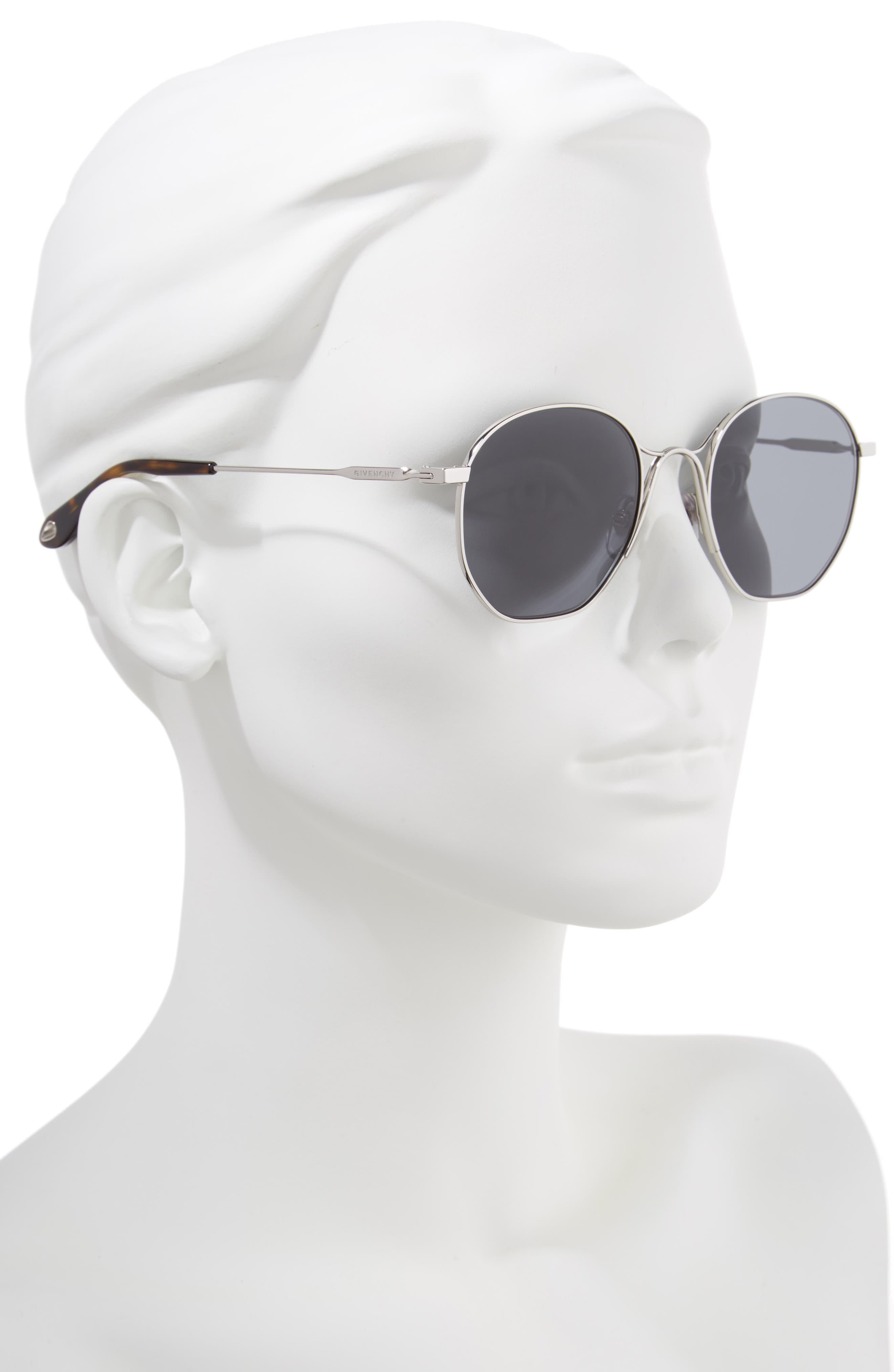 53mm Squared Round Metal Sunglasses,                             Alternate thumbnail 2, color,                             PALLADIUM