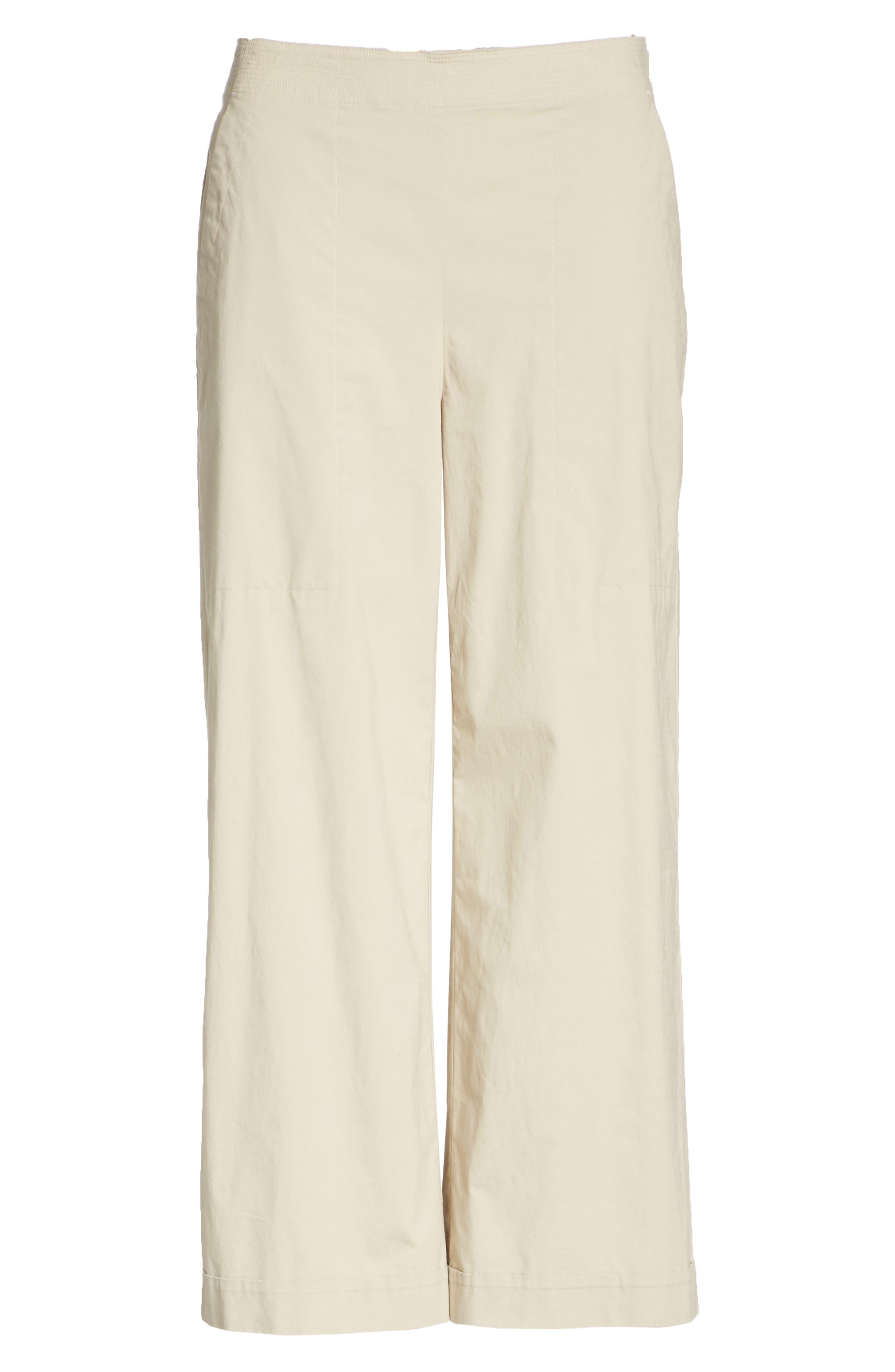 Crop Wide Leg Trouser,                             Alternate thumbnail 6, color,                             KHAKI