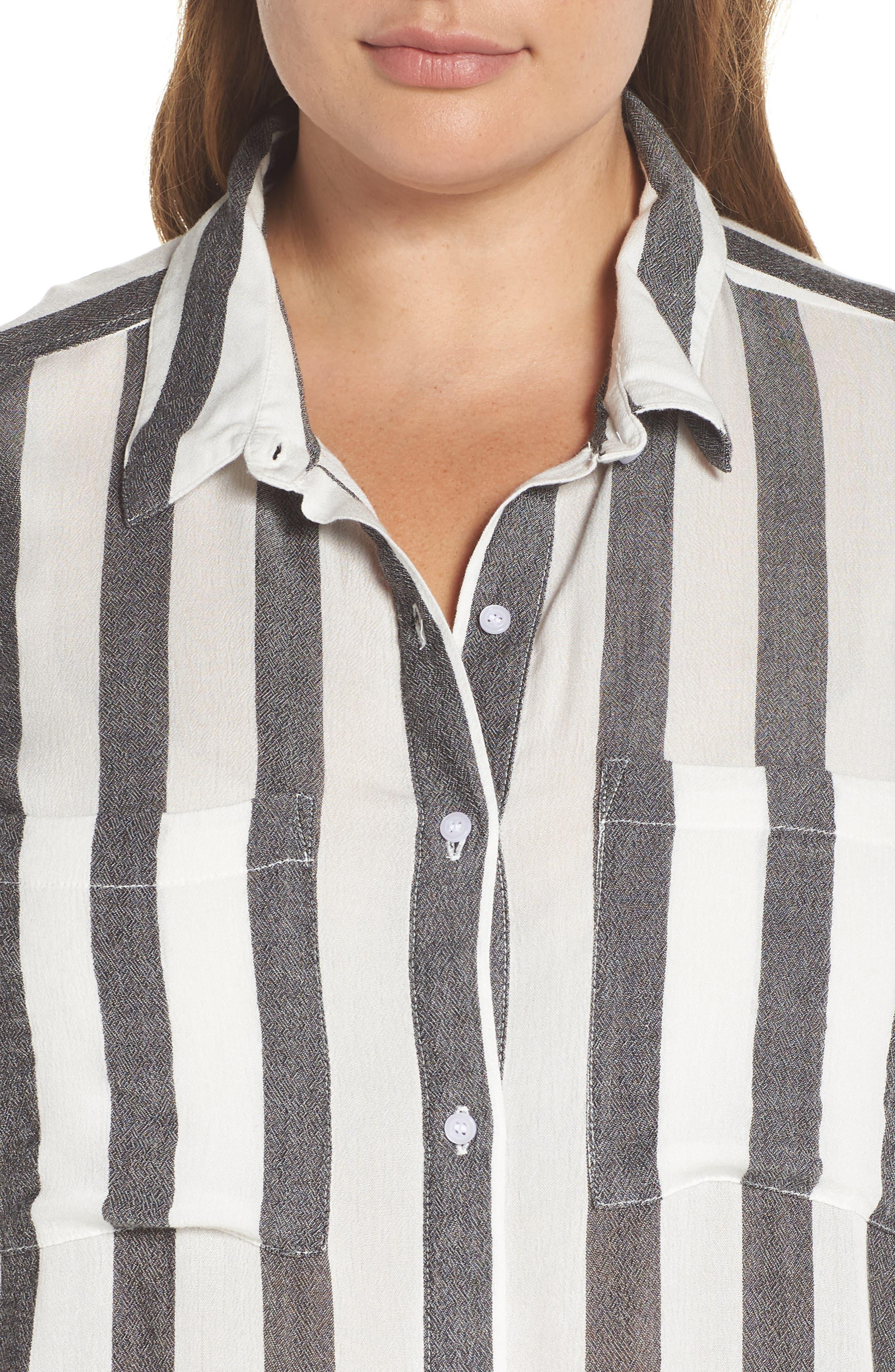 BP.,                             Perfect Stripe Shirt,                             Alternate thumbnail 4, color,                             001