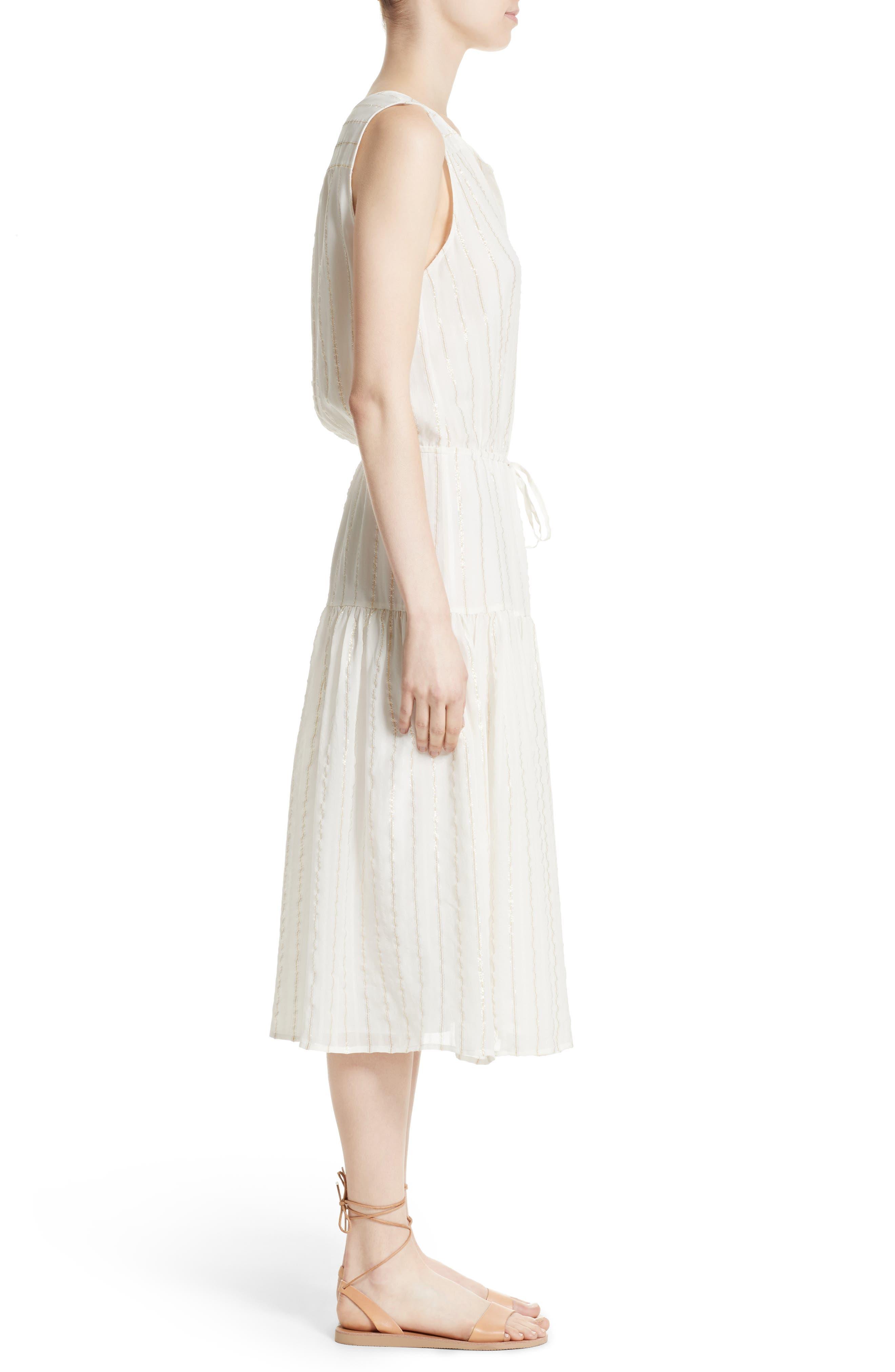 Klea Metallic Stripe Silk Midi Dress,                             Alternate thumbnail 3, color,                             114