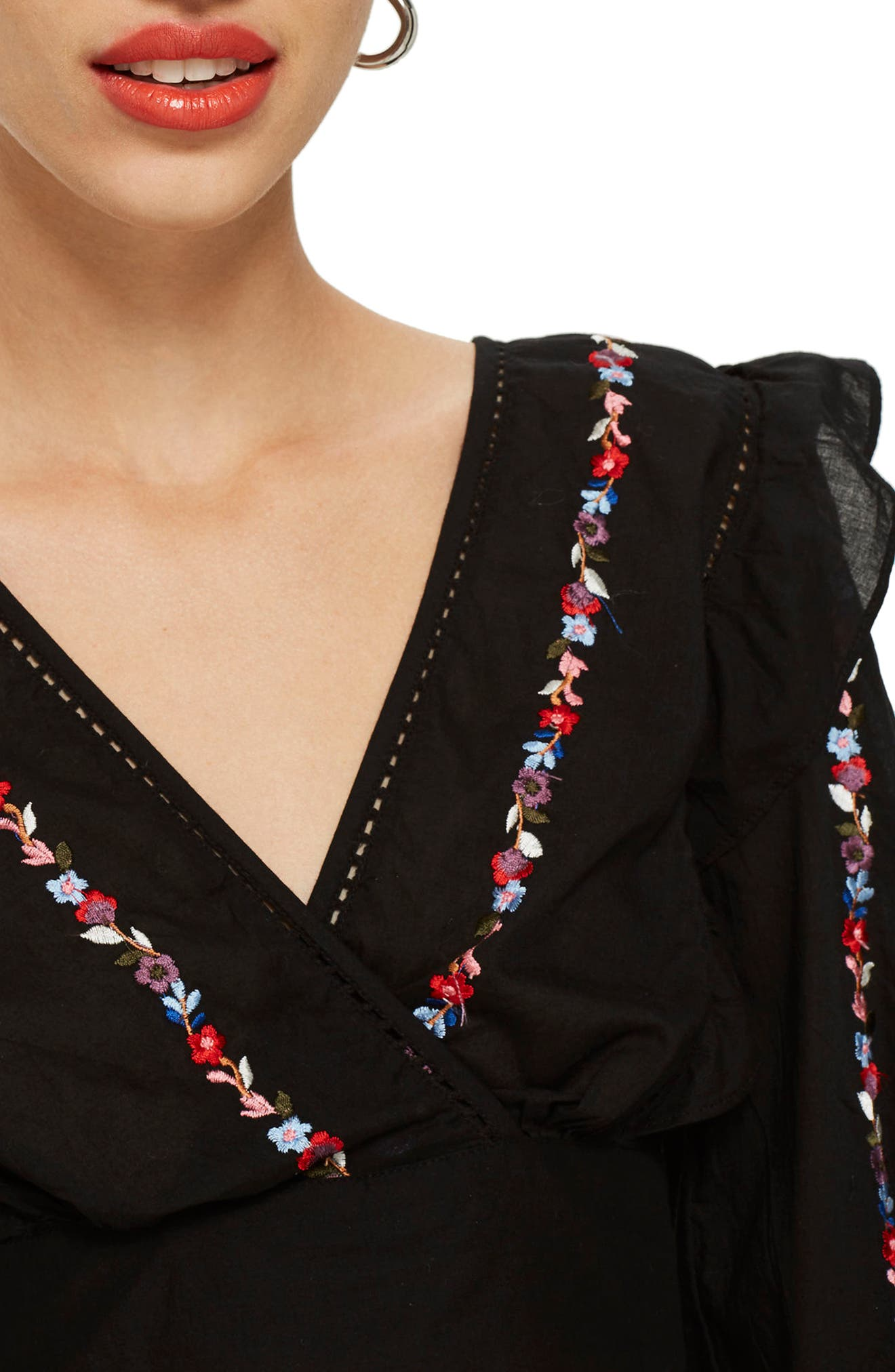 Embroidered Balloon Sleeve Blouse,                             Alternate thumbnail 3, color,                             001
