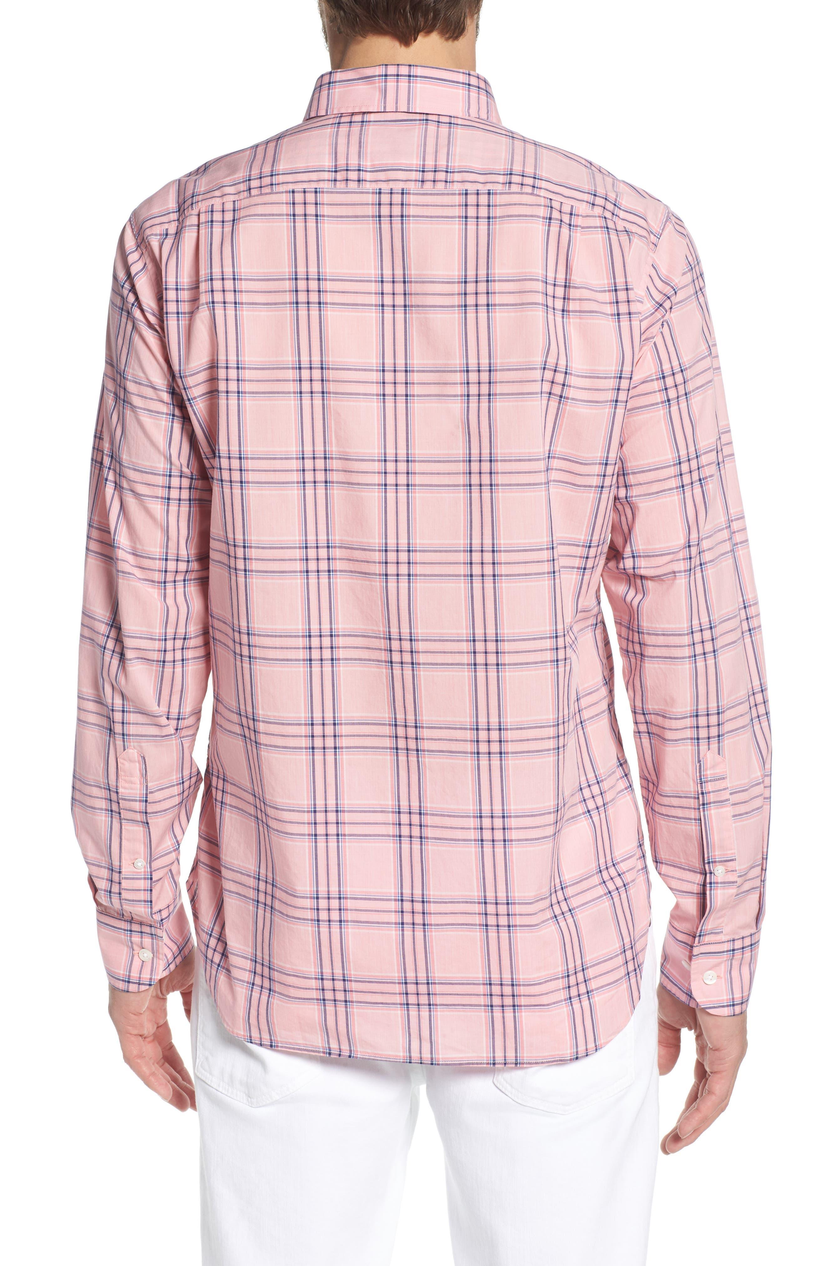 Summerweight Slim Fit Check Sport Shirt,                             Alternate thumbnail 2, color,