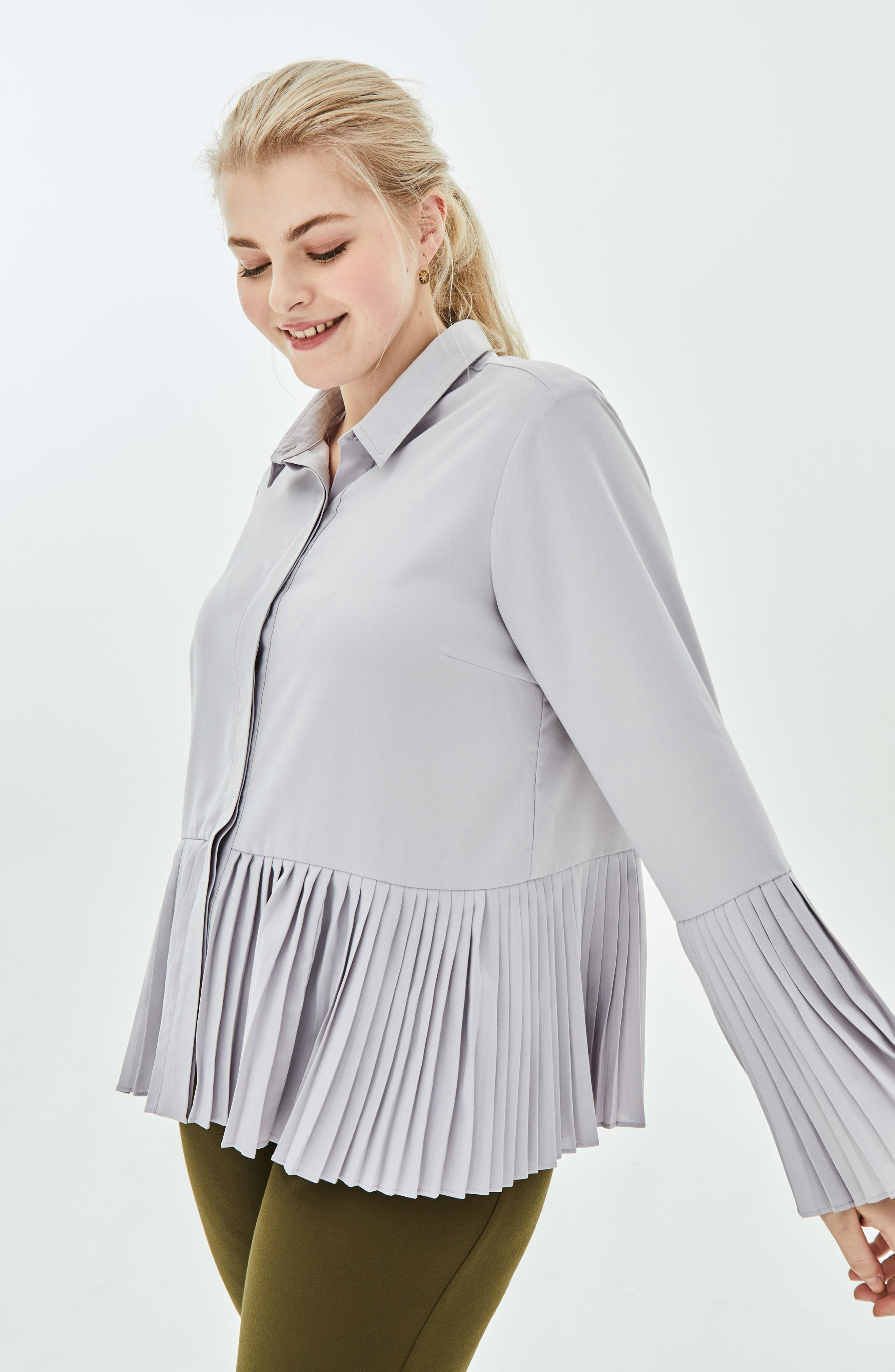 the Luli Pleated Bell Sleeve Shirt,                             Alternate thumbnail 4, color,                             500