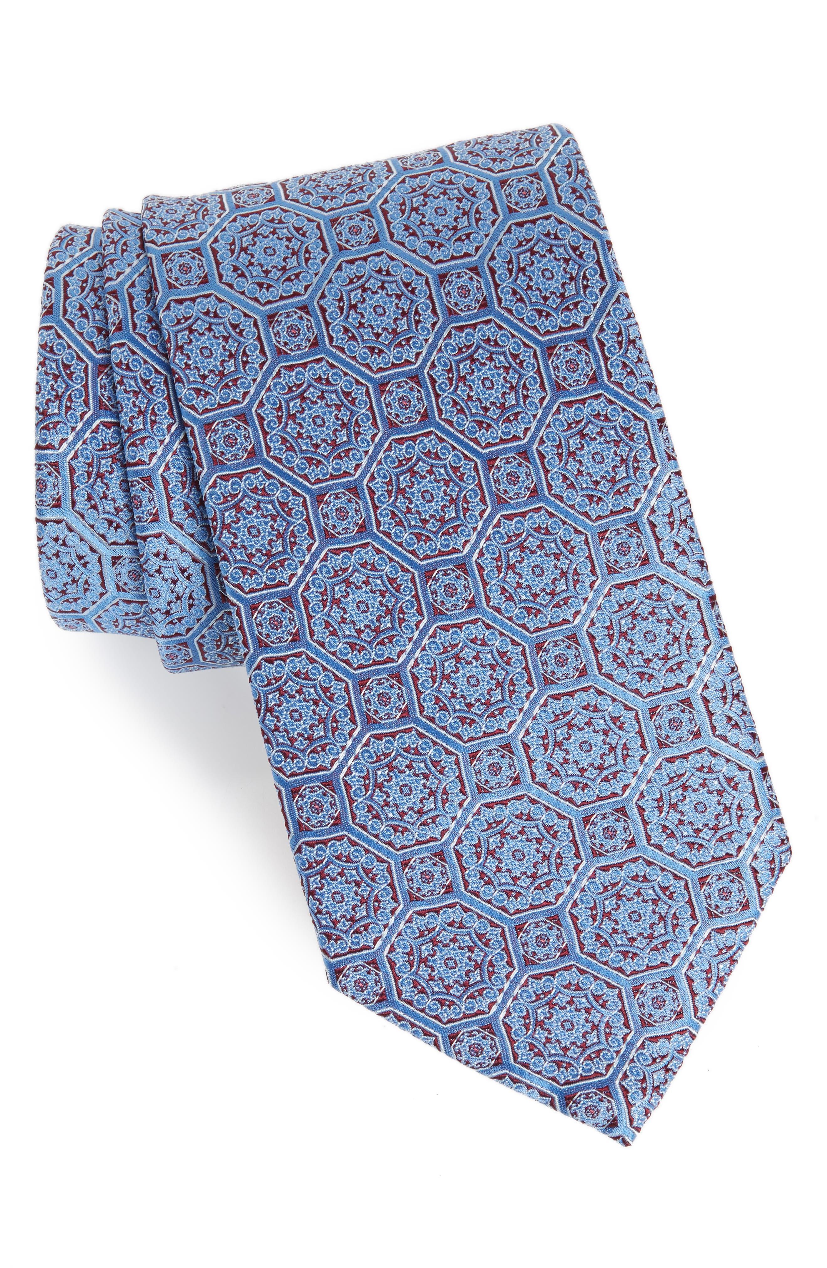 ETON Medallion Silk Tie, Main, color, 400