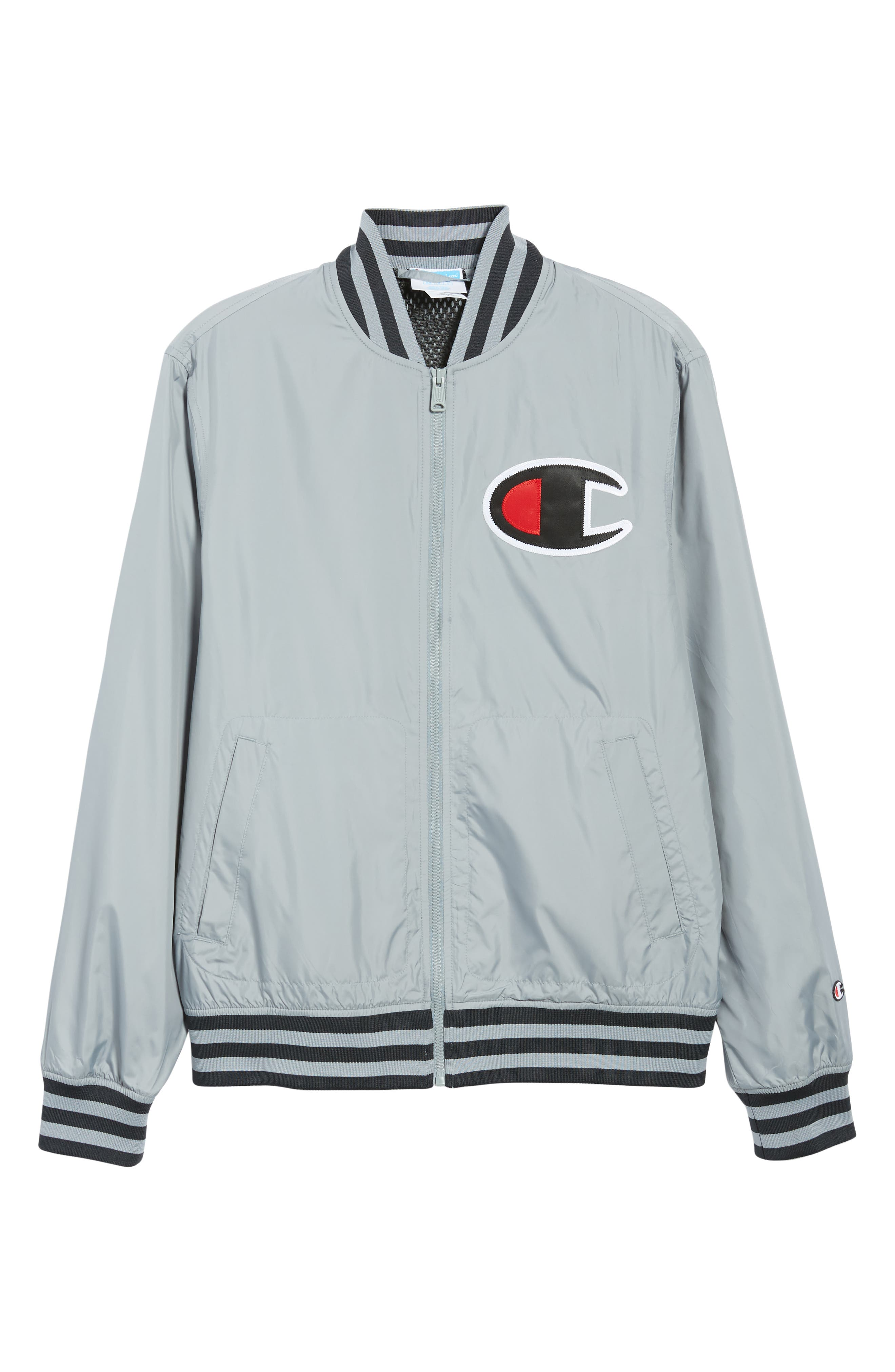Satin Baseball Jacket,                             Alternate thumbnail 6, color,                             030