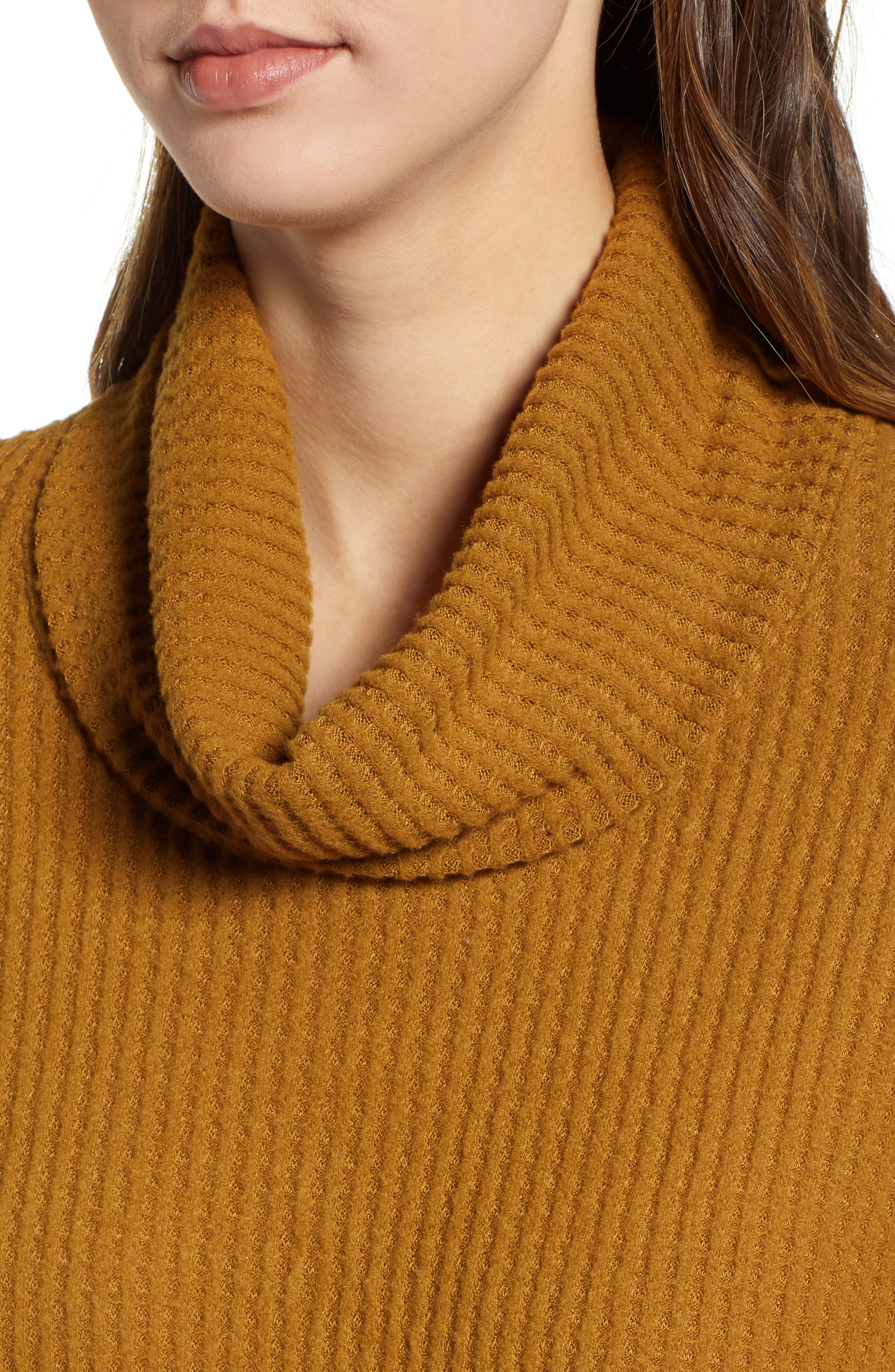 Funnel Neck Tunic,                             Alternate thumbnail 4, color,                             BROWN BRONZE