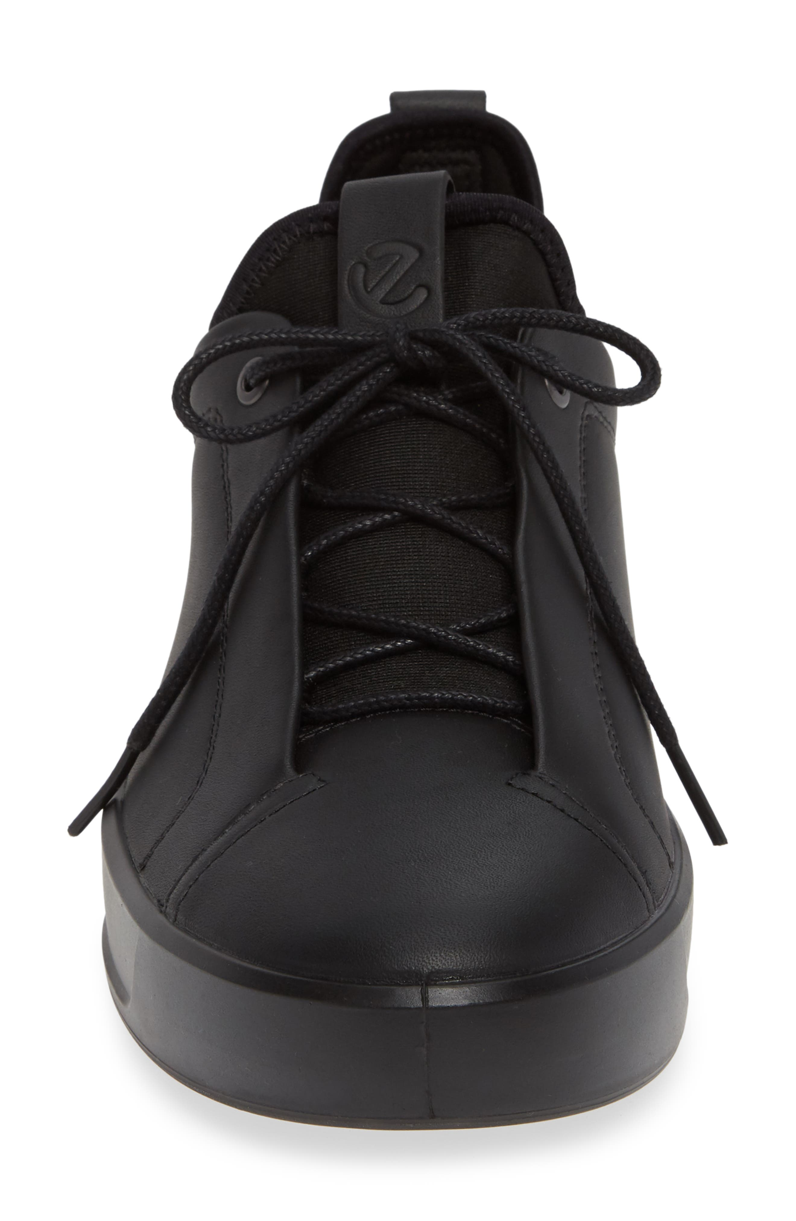 Soft 8 Low Top Sneaker,                             Alternate thumbnail 4, color,                             BLACK LEATHER