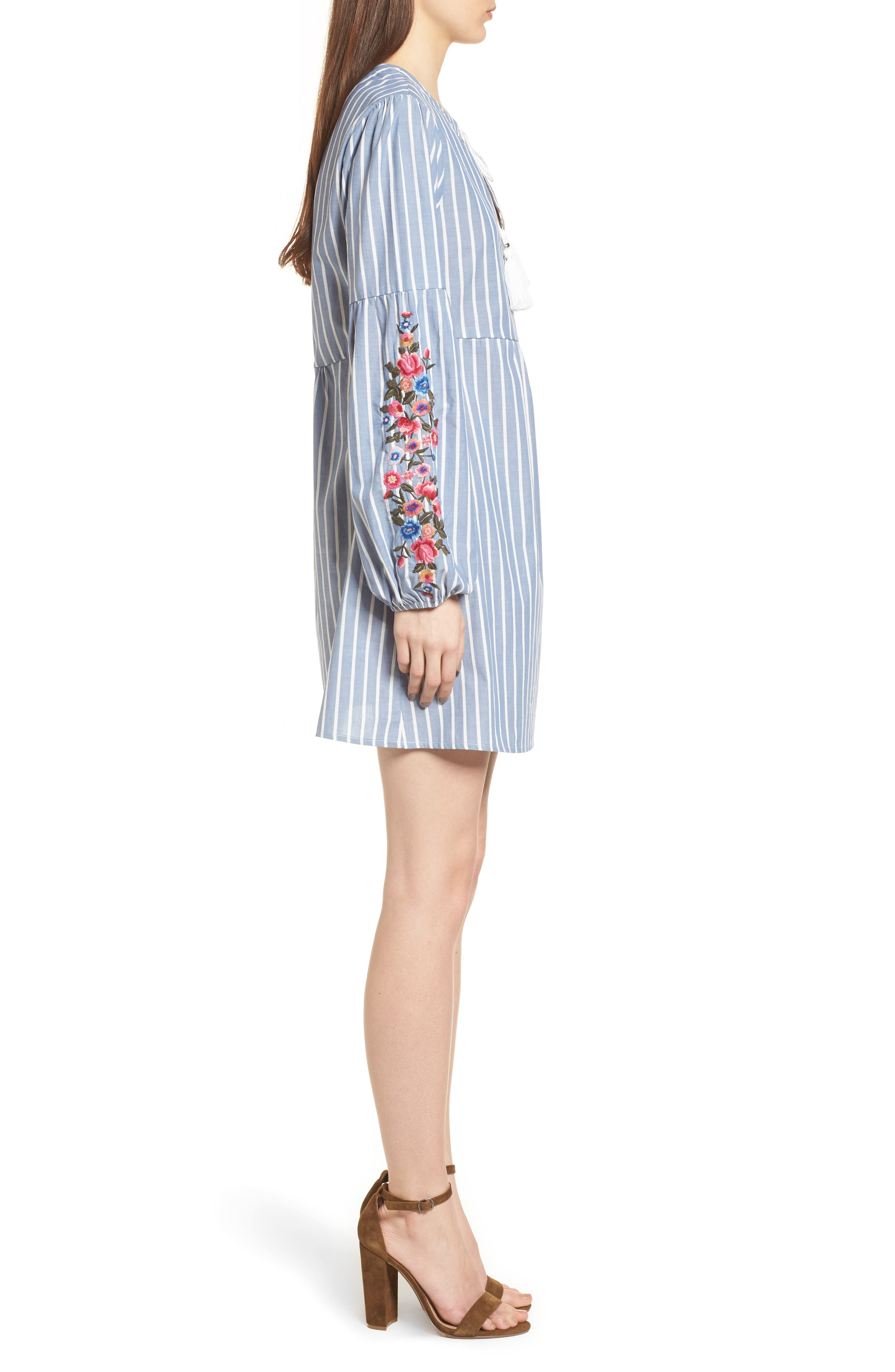 Embroidered Babydoll Dress,                             Alternate thumbnail 3, color,                             400