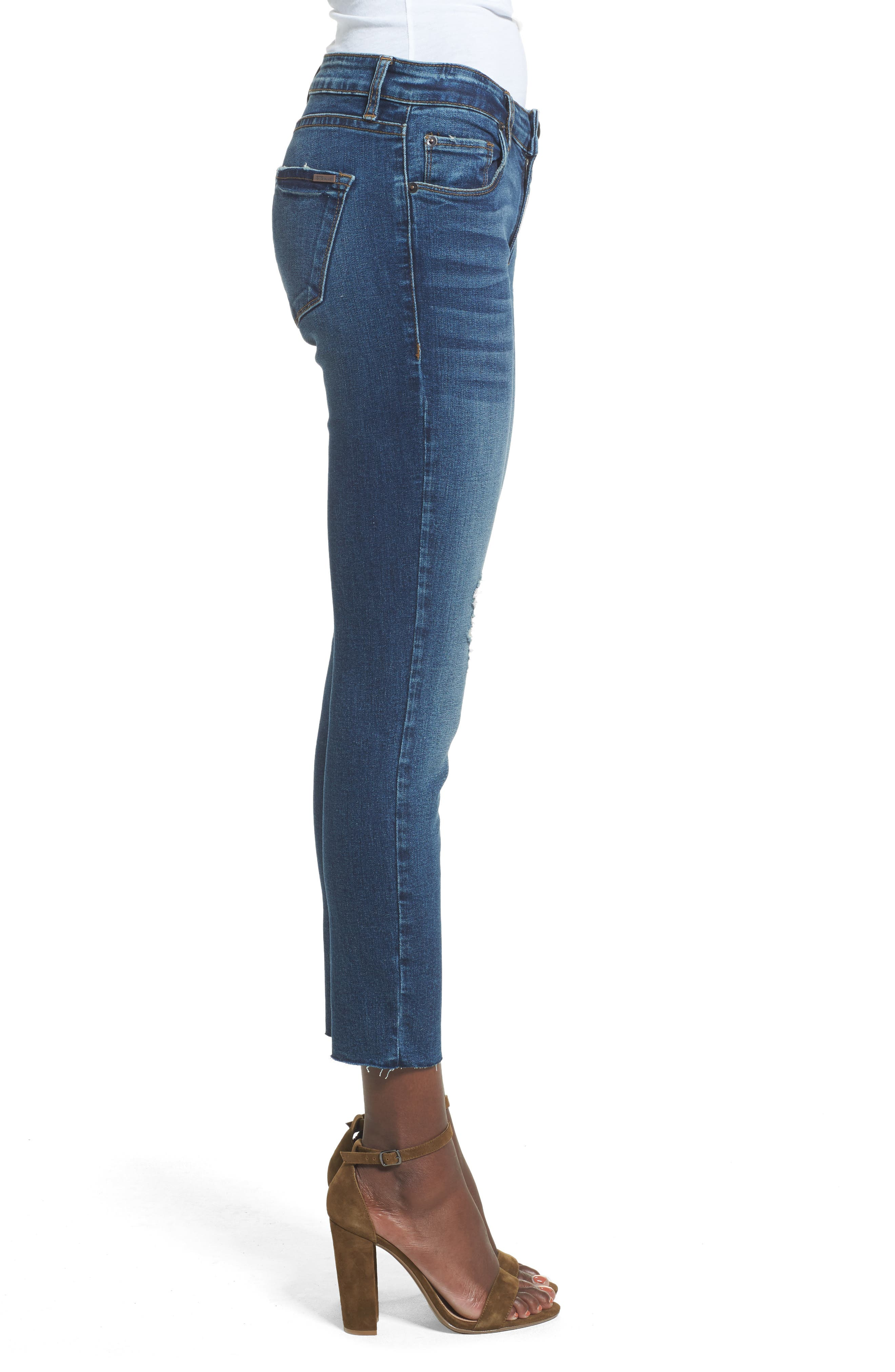 Distressed Ankle Straight Leg Jeans,                             Alternate thumbnail 3, color,                             400