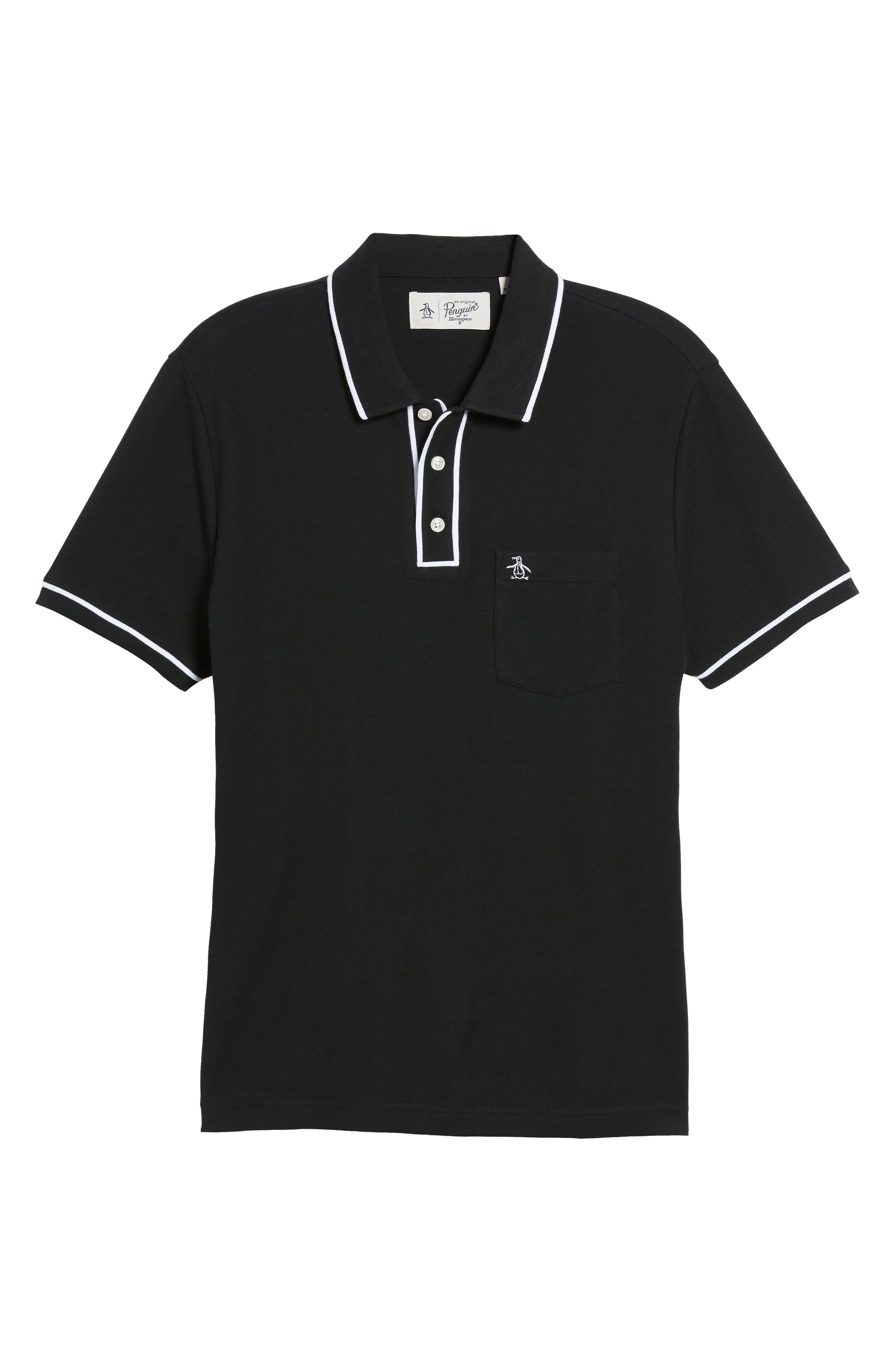 'Earl' Piqué Polo,                             Alternate thumbnail 6, color,                             TRUE BLACK