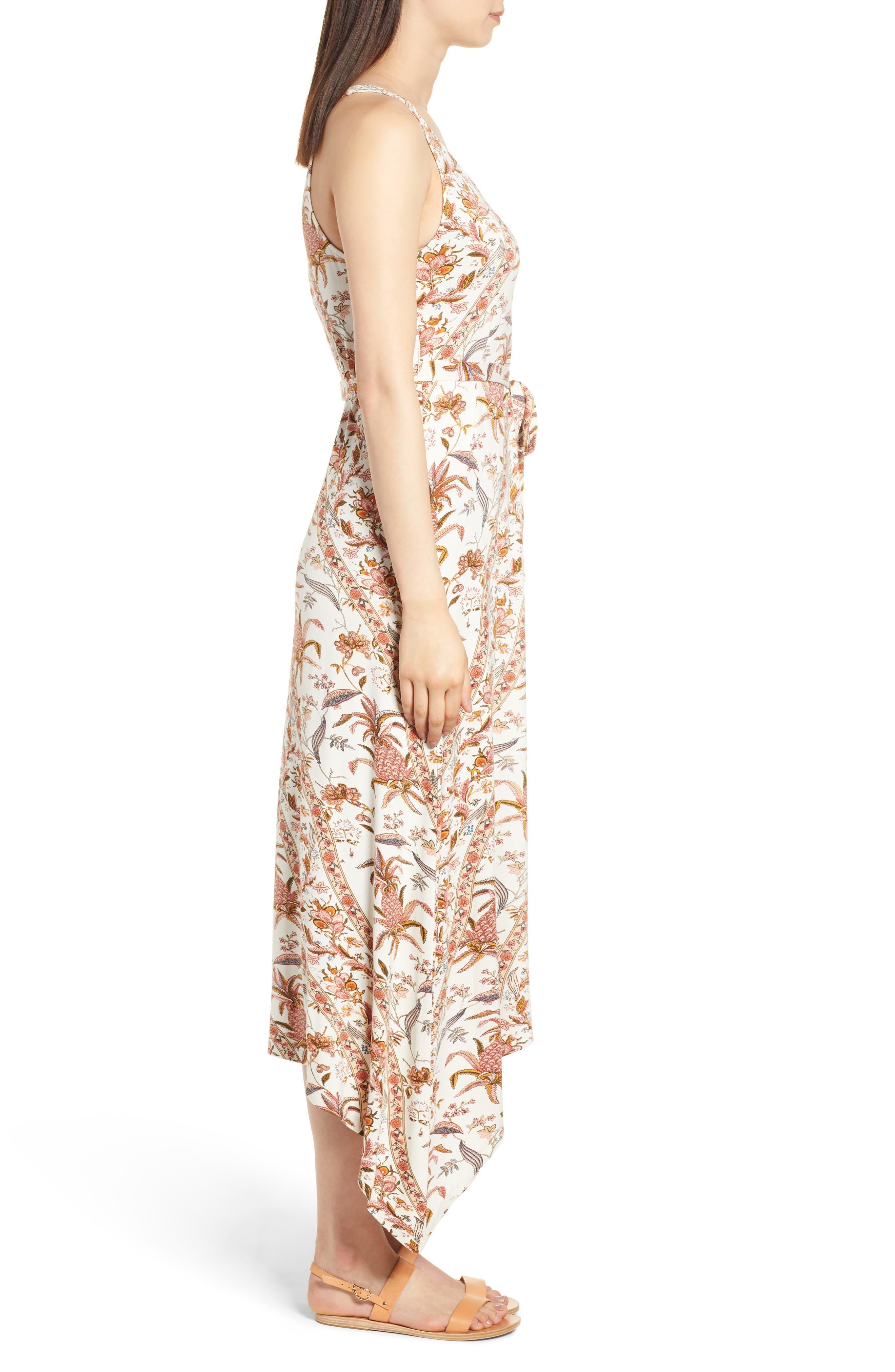 V-Neck Print Maxi Dress,                             Alternate thumbnail 3, color,                             950
