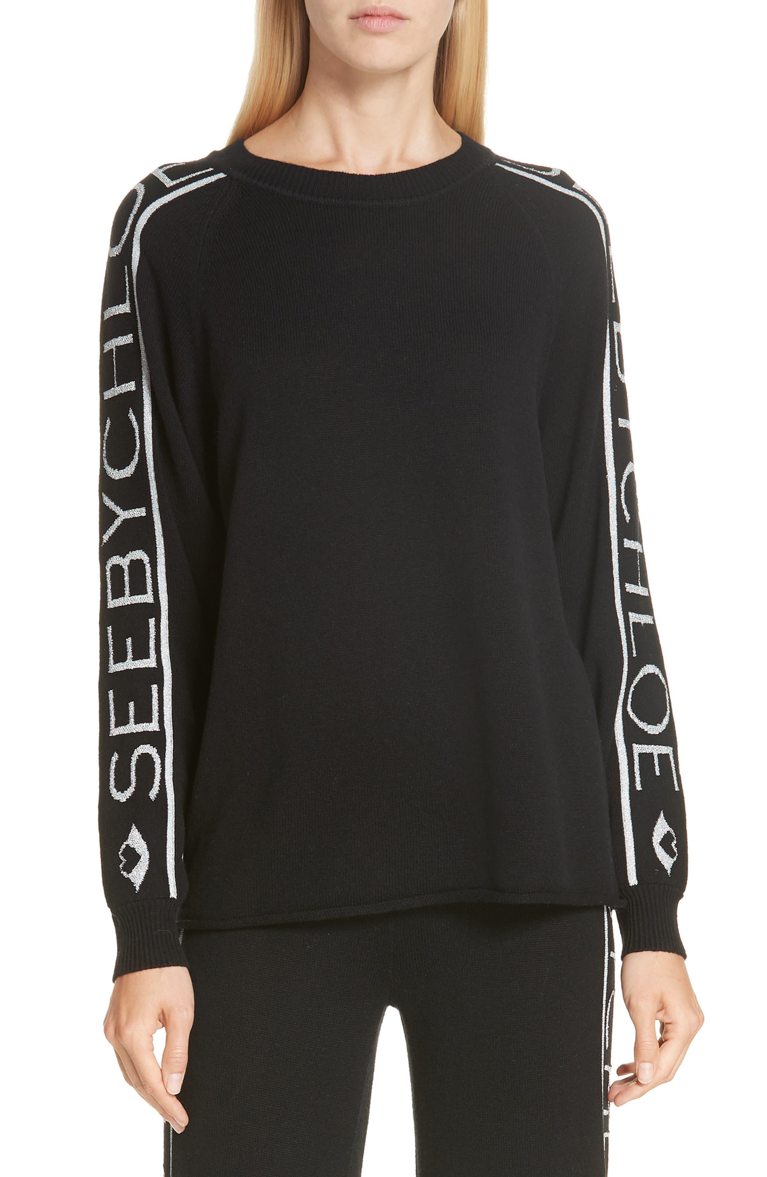 See By Chloe Logo Jacquard Sleeve Wool Blend Sweater, Black
