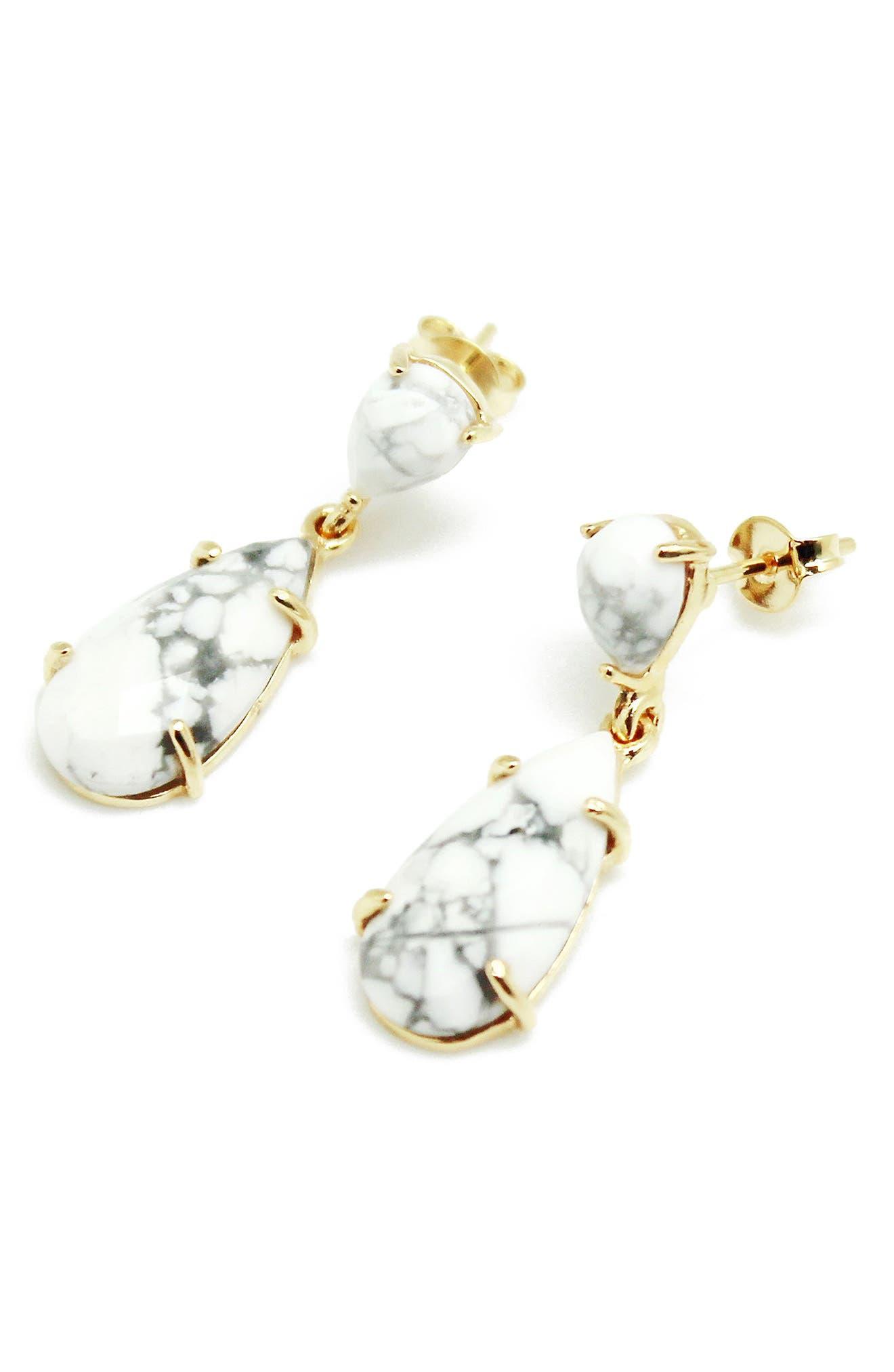 Stone Teardrop Earrings,                         Main,                         color,