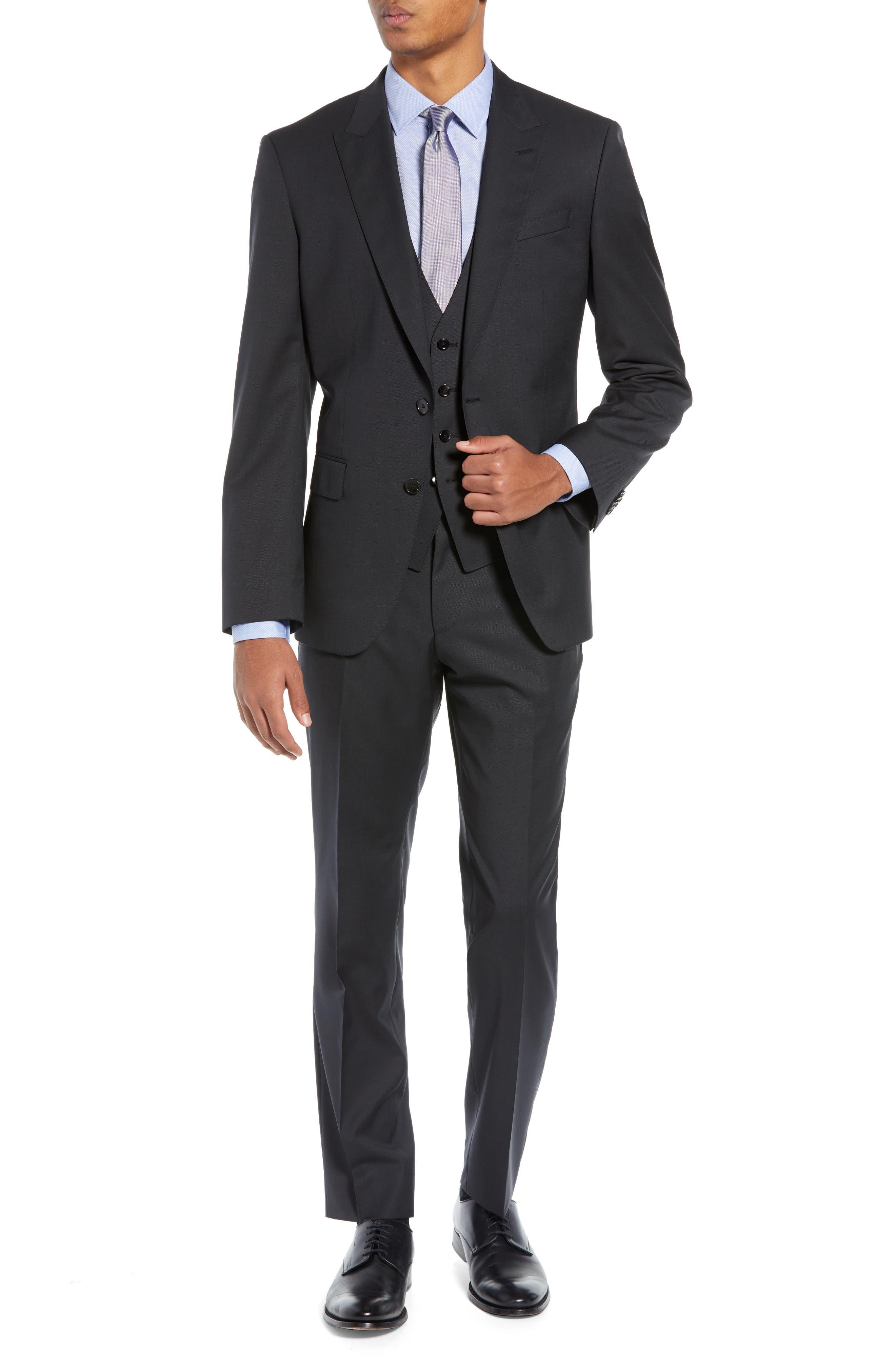 BOSS,                             Helward/Genius Trim Fit Solid Three Piece Wool Suit,                             Main thumbnail 1, color,                             DARK GREY