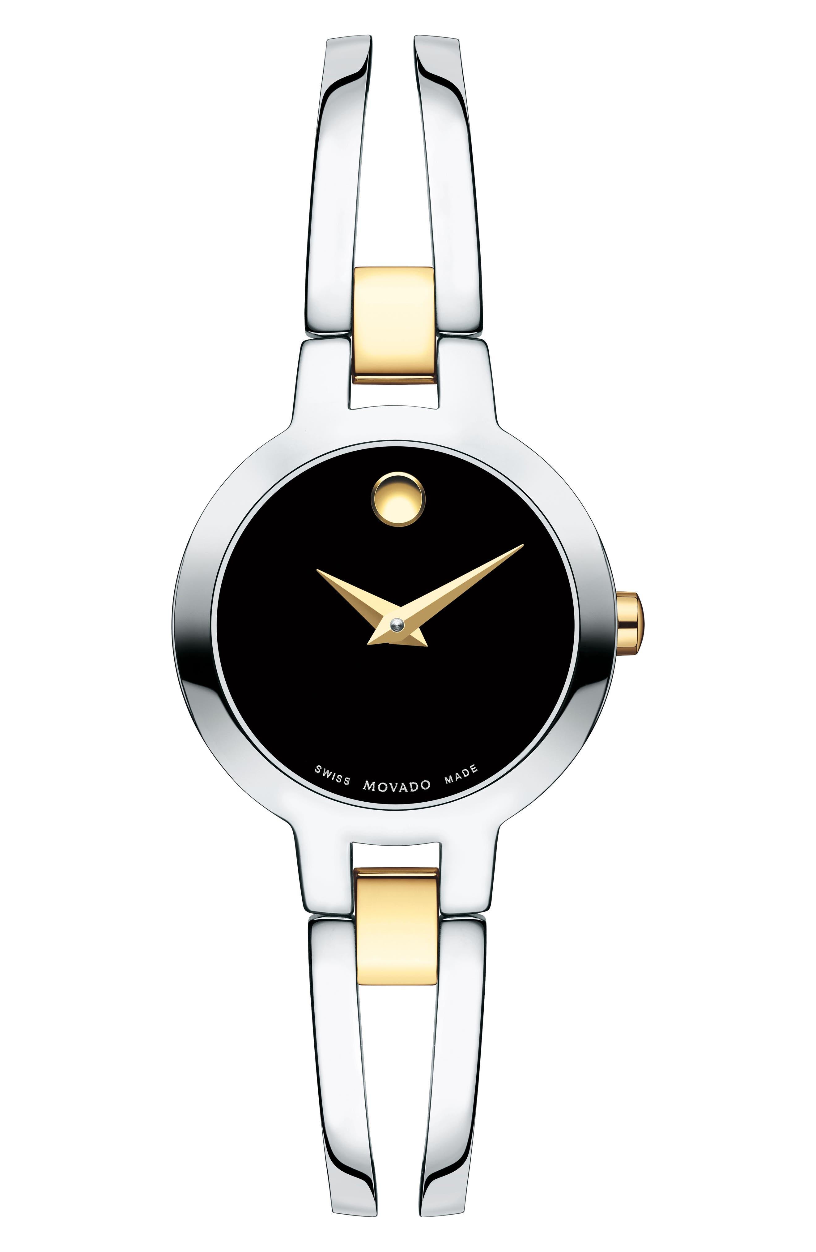 Amorosa Bangle Watch, 24mm,                             Main thumbnail 1, color,                             SILVER/ BLACK/ SILVER