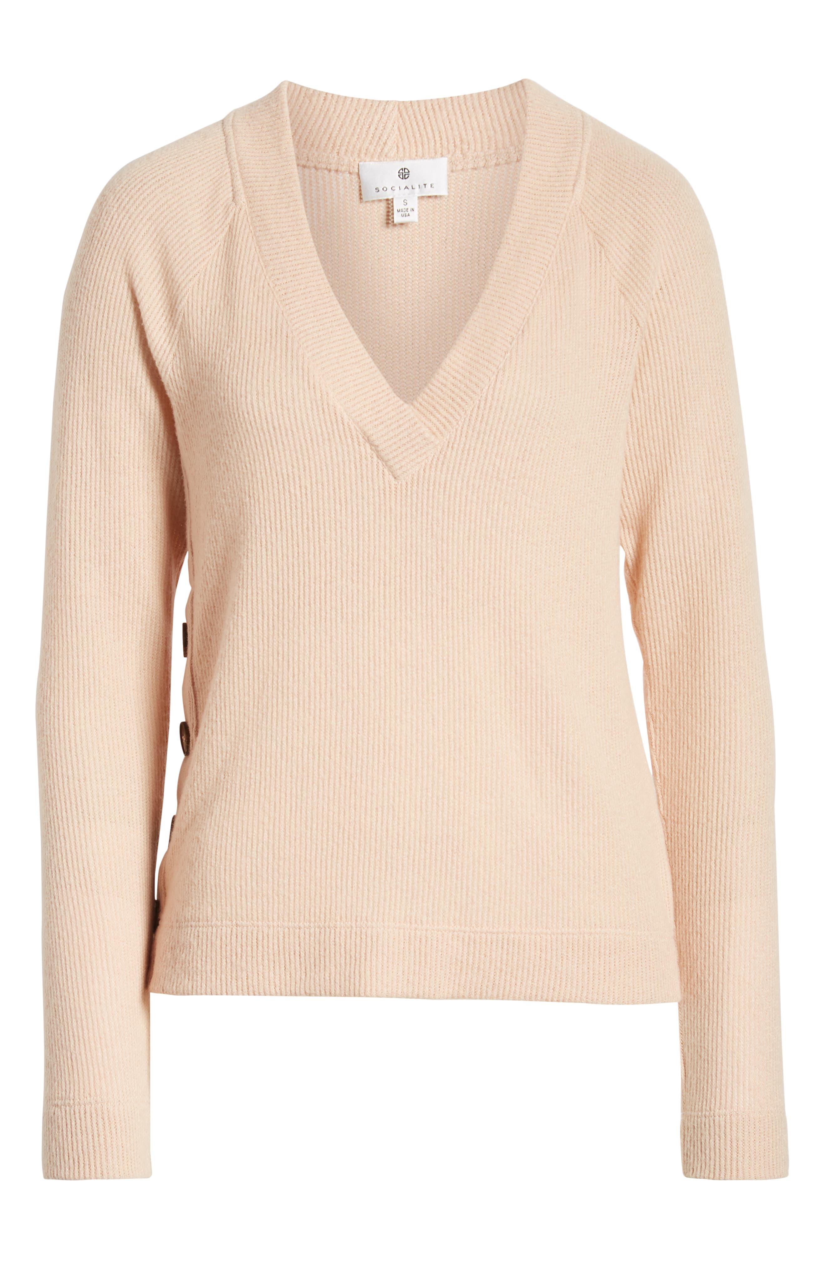 Side Button Sweater,                             Alternate thumbnail 6, color,                             BLUSH
