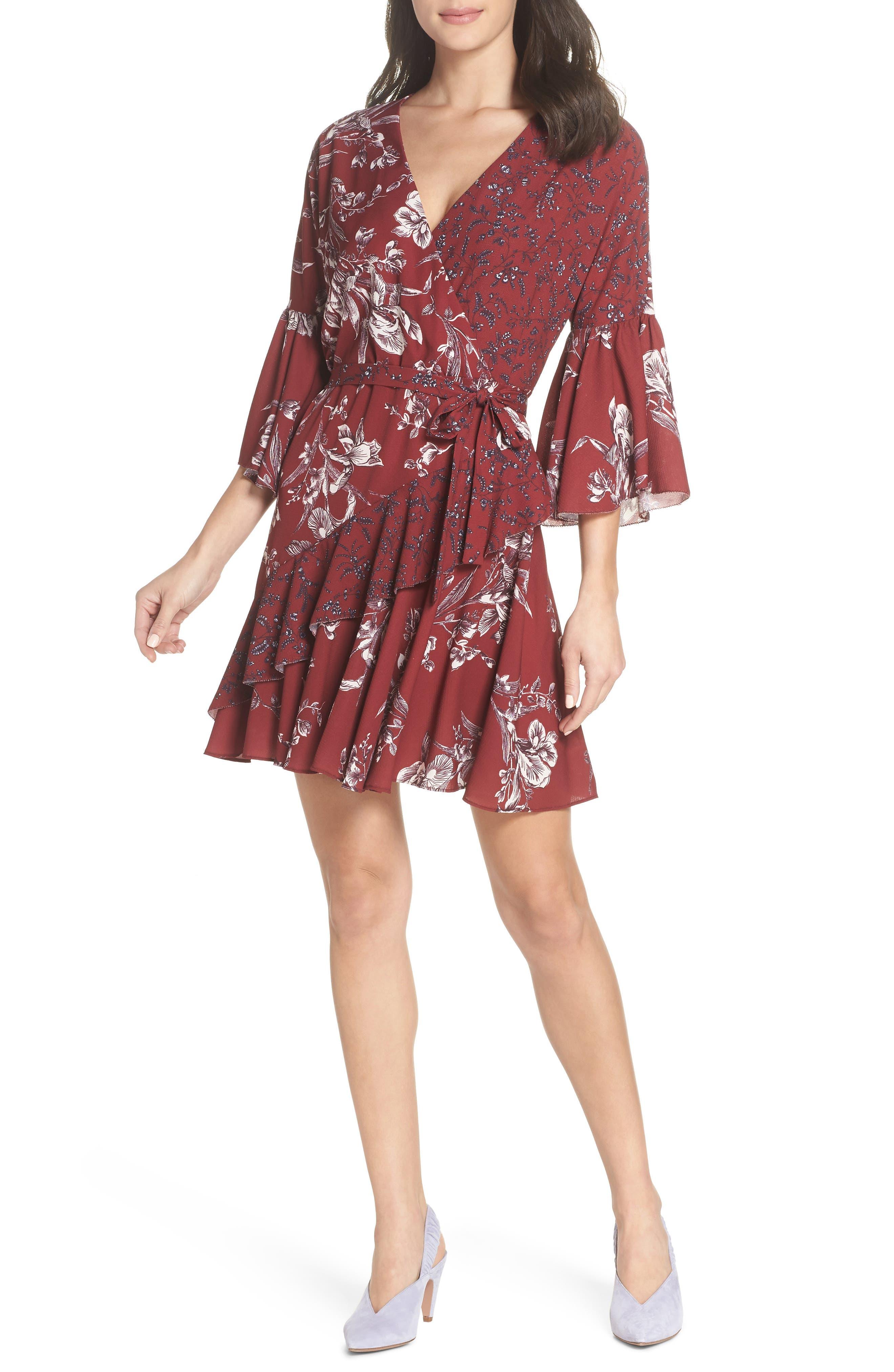 French Connection Ellette Crepe Faux Wrap Dress, Burgundy