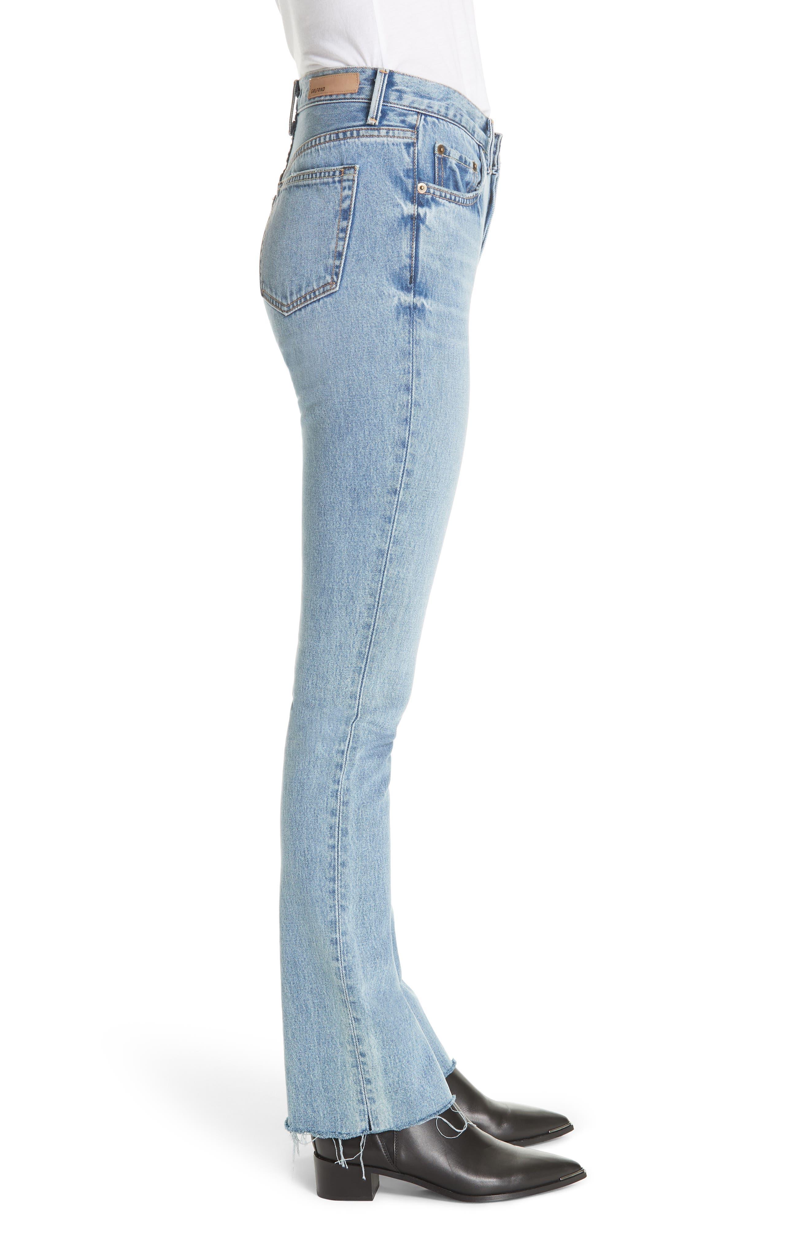 Addison Split Hem Boot Leg Jeans,                             Alternate thumbnail 3, color,                             TOUCH THE FLOOR