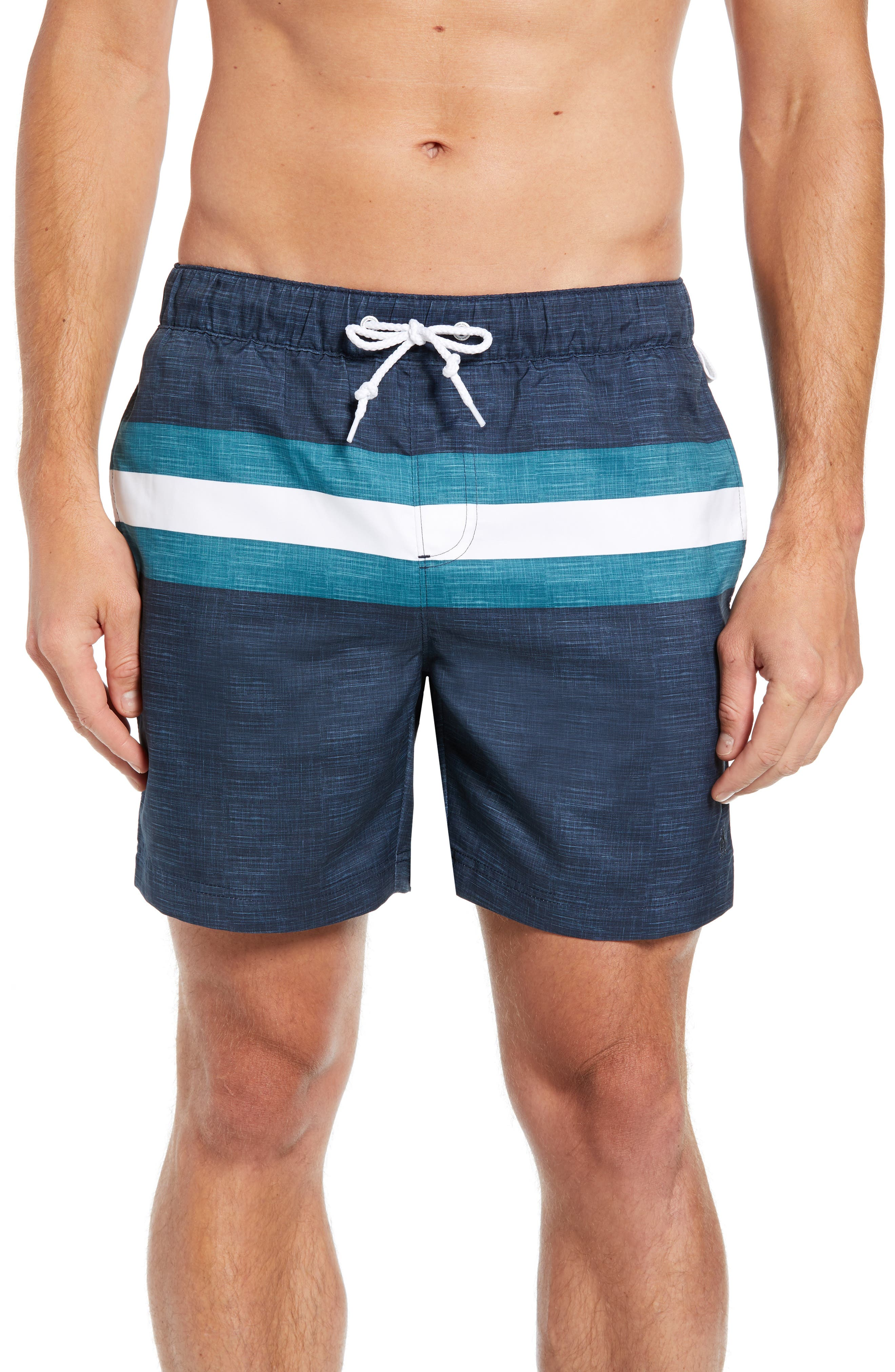 Colorblock Swim Trunks,                         Main,                         color, DARK SAPPHIRE