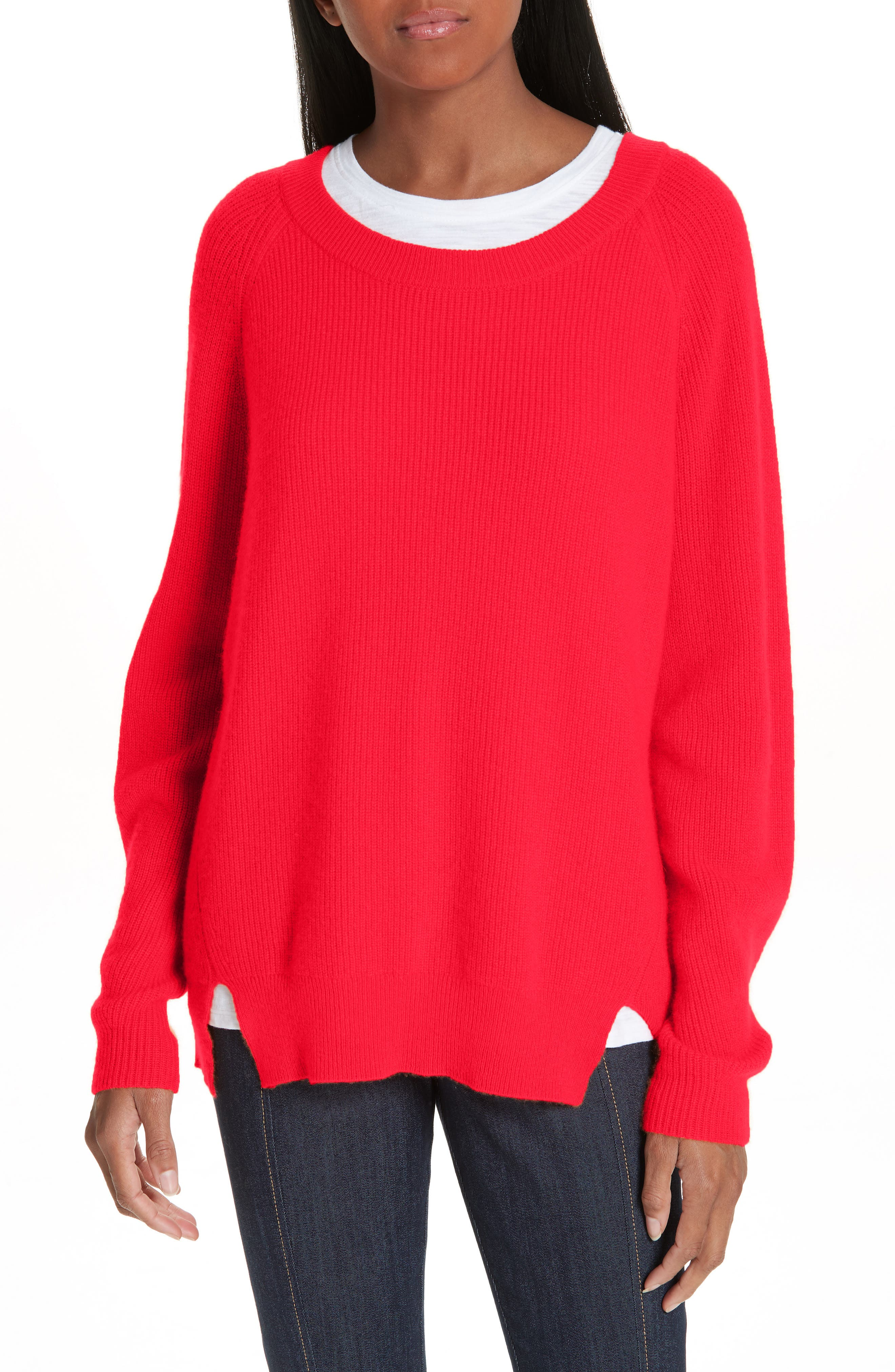 Lillie Layered Cashmere Sweater, Main, color, POPPY PINK