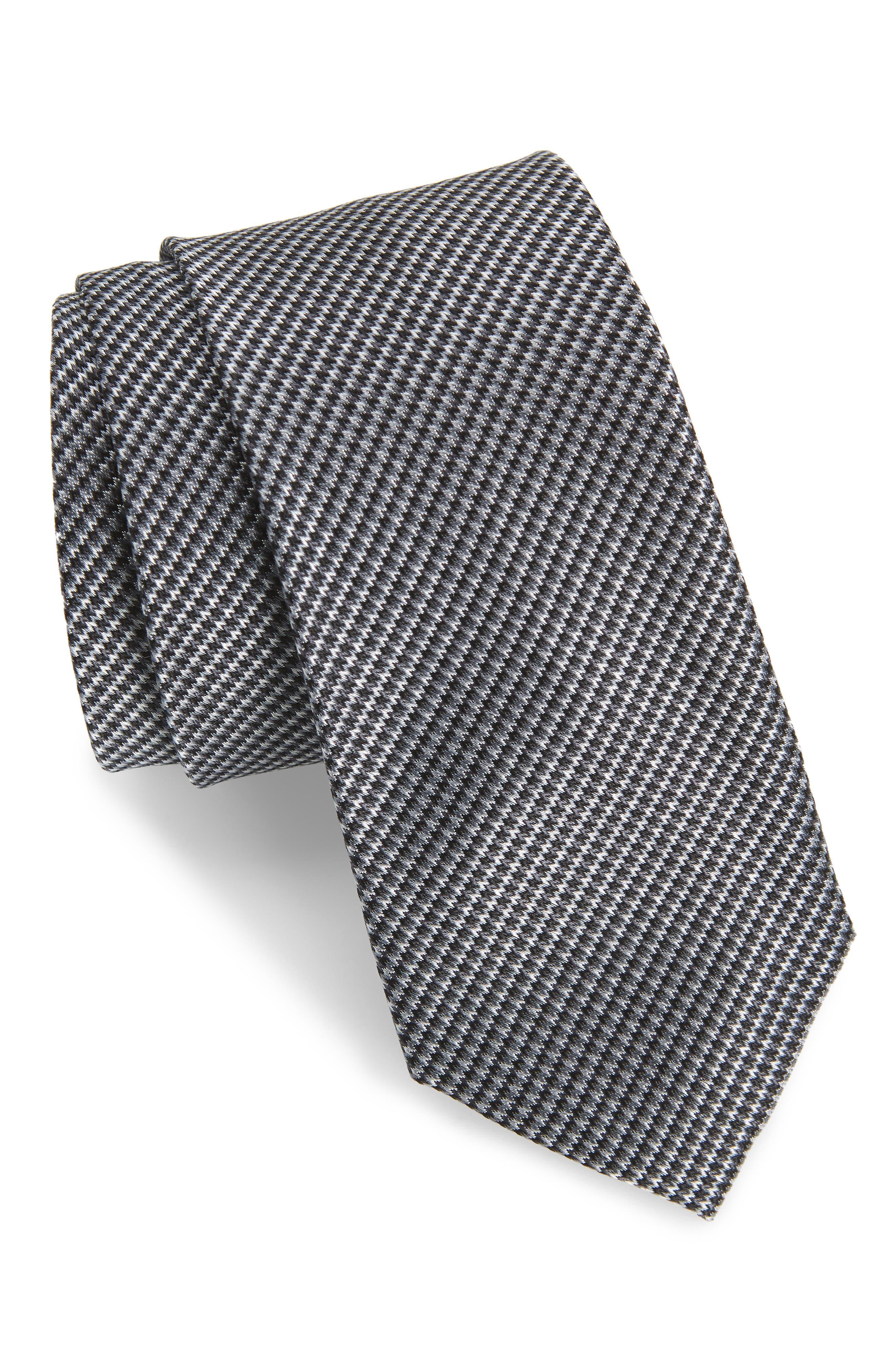 Jennie Solid Silk Tie,                             Main thumbnail 1, color,                             BLACK