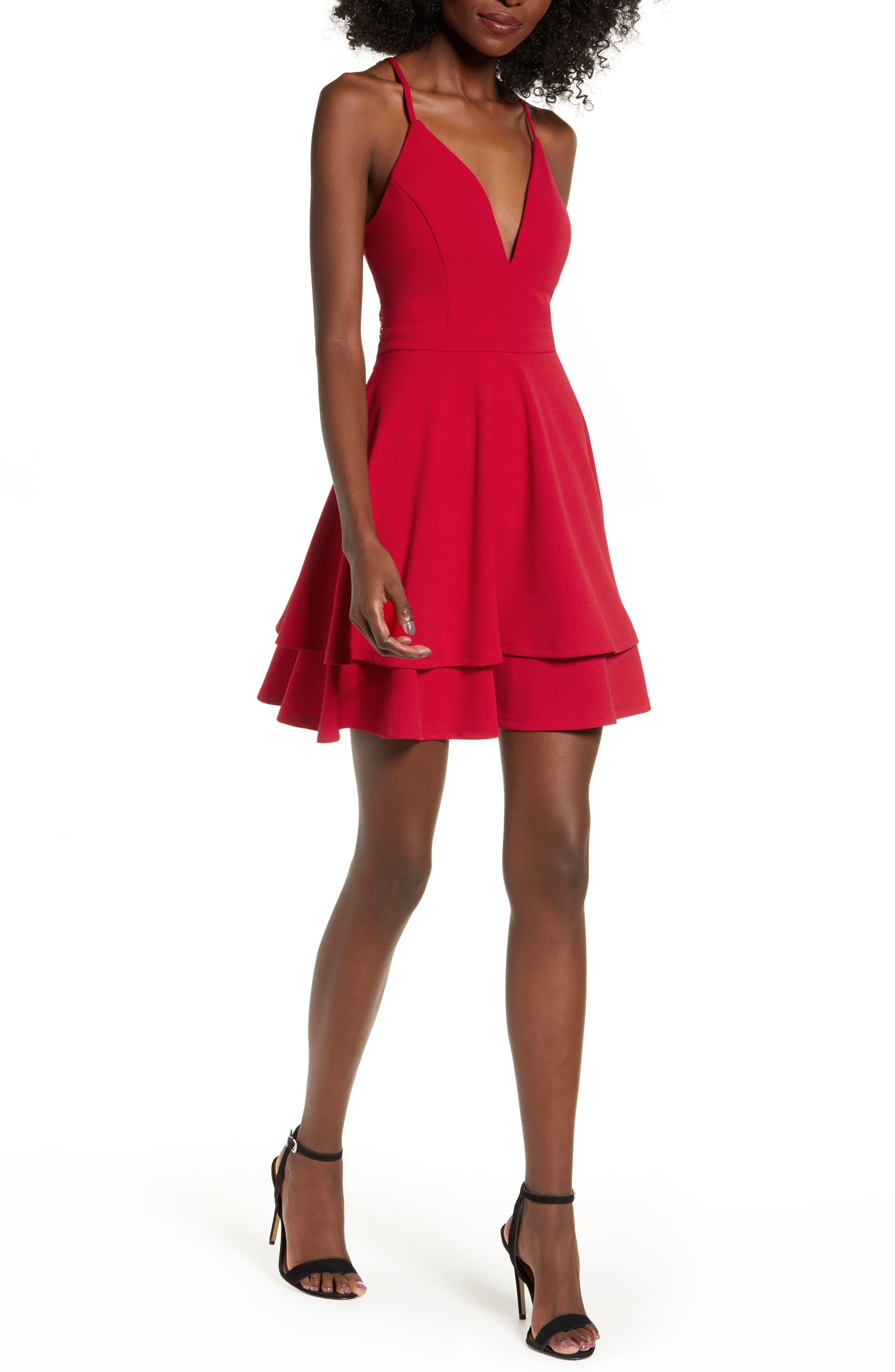 LOVE, NICKIE LEW,                             V-Neck Skater Dress,                             Main thumbnail 1, color,                             RED