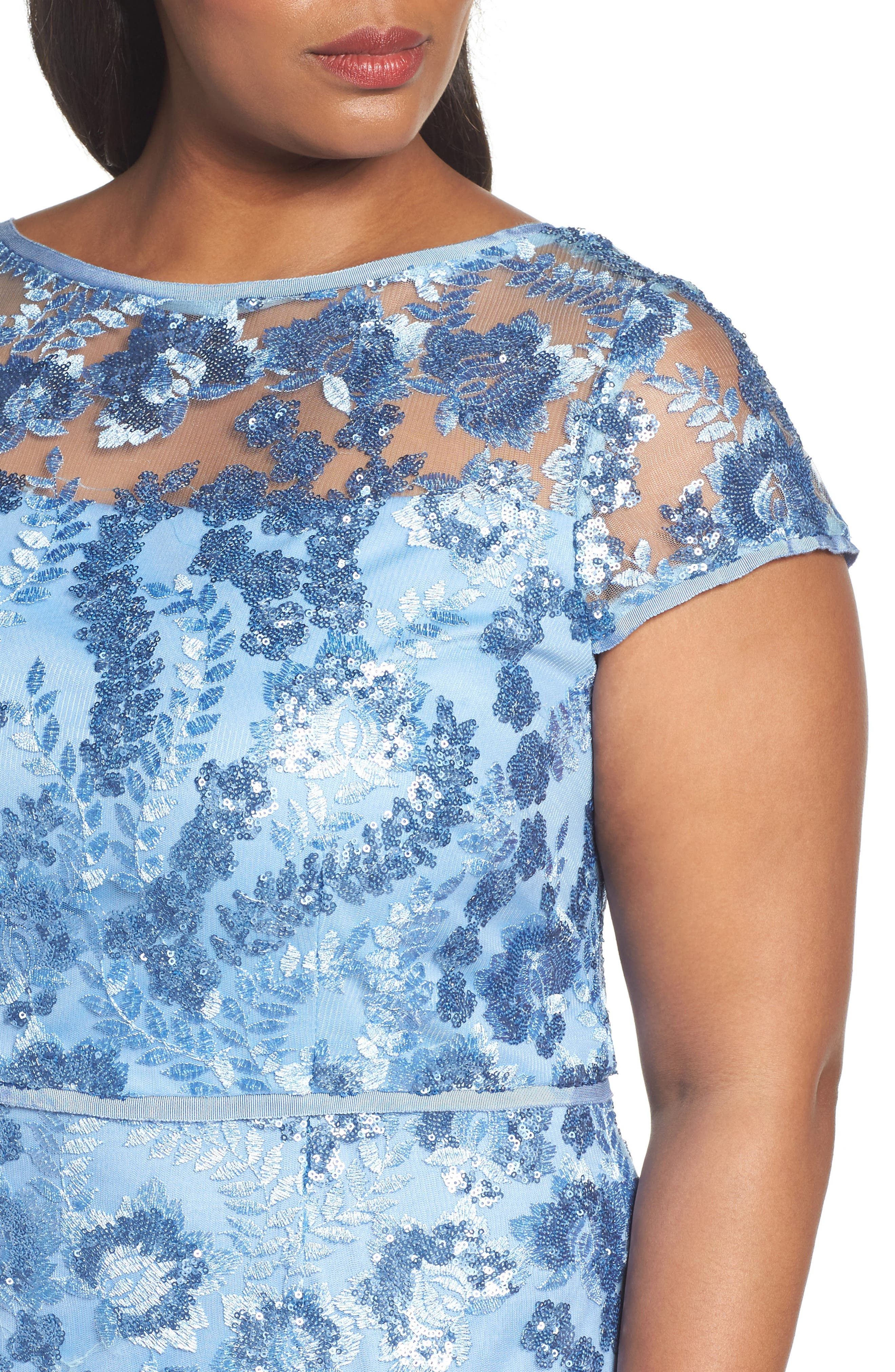 Sequin Embroidered Sheath Gown,                             Alternate thumbnail 4, color,                             SLATE BLUE