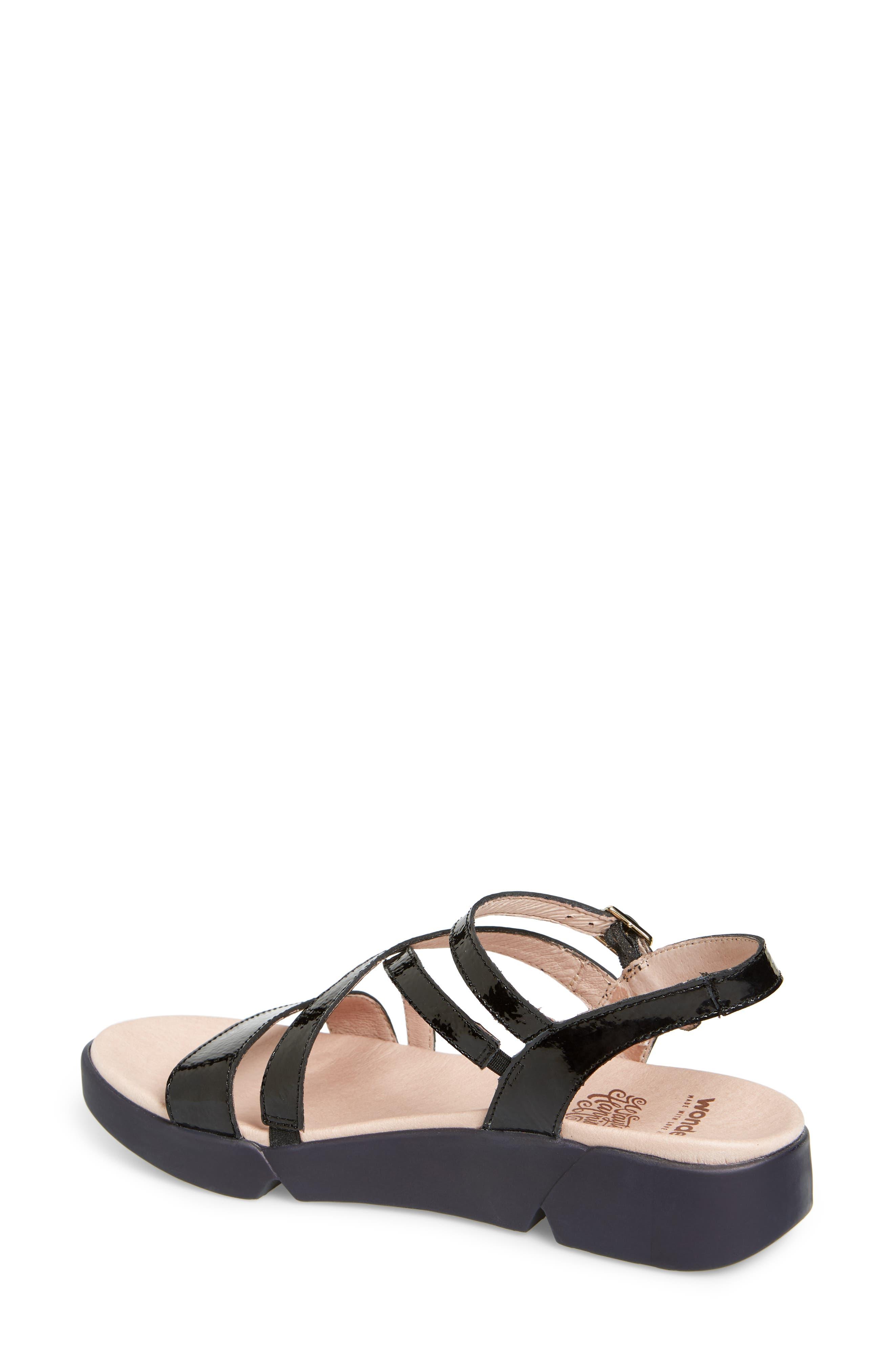 Wedge Sandal,                             Alternate thumbnail 2, color,                             BLACK PATENT LEATHER