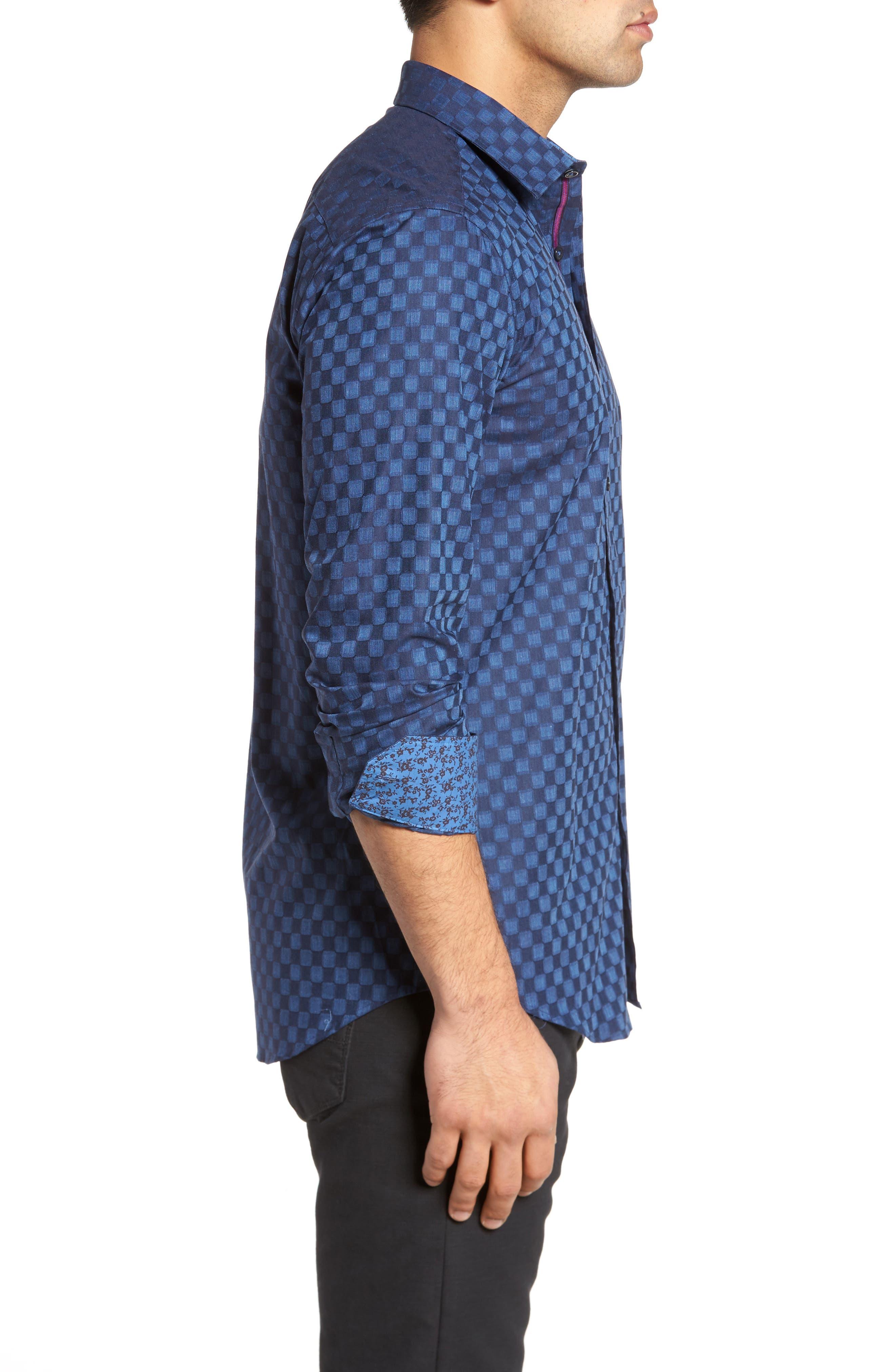 Slim Fit Square Jacquard Sport Shirt,                             Alternate thumbnail 3, color,                             408