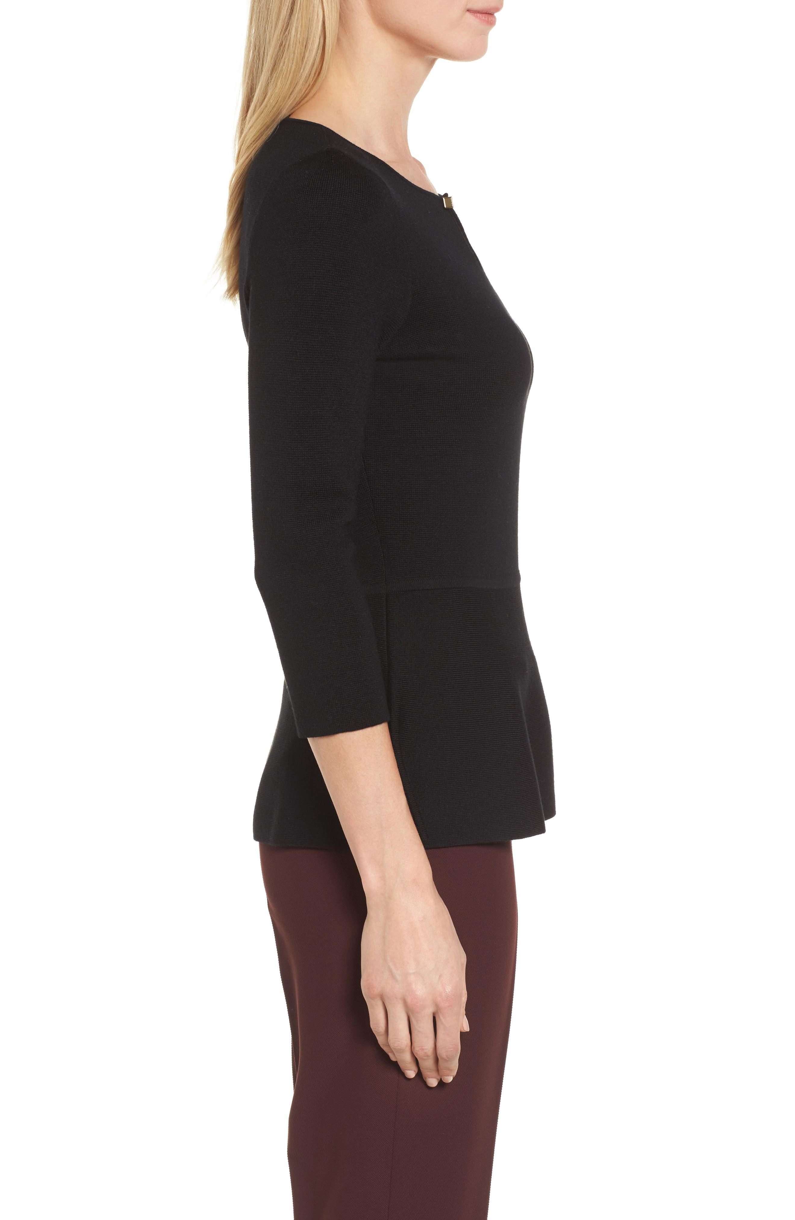 Fylle Wool Sweater,                             Alternate thumbnail 3, color,                             001