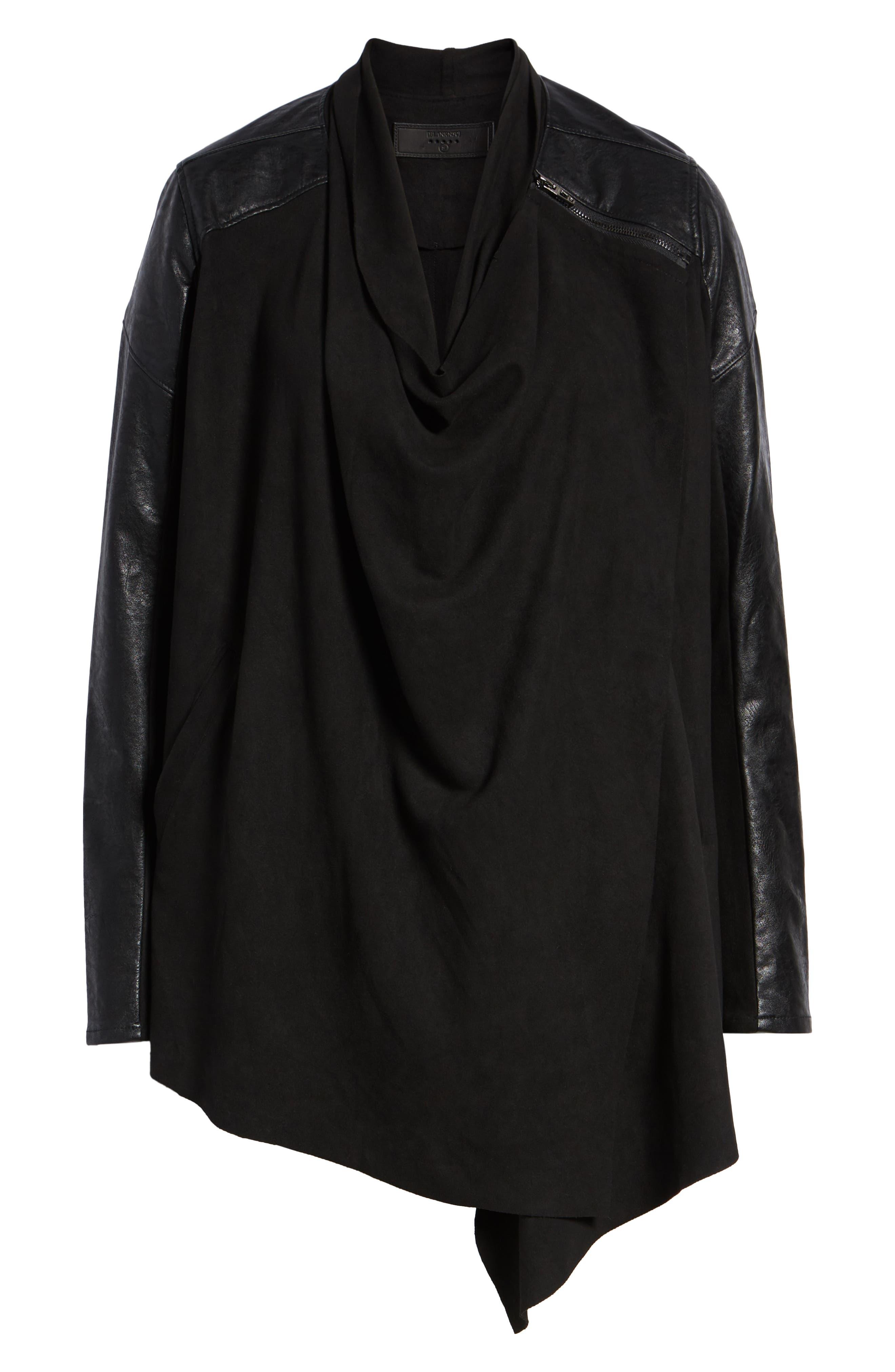 BLANKNYC,                             Drape Front Jacket,                             Alternate thumbnail 6, color,                             INK