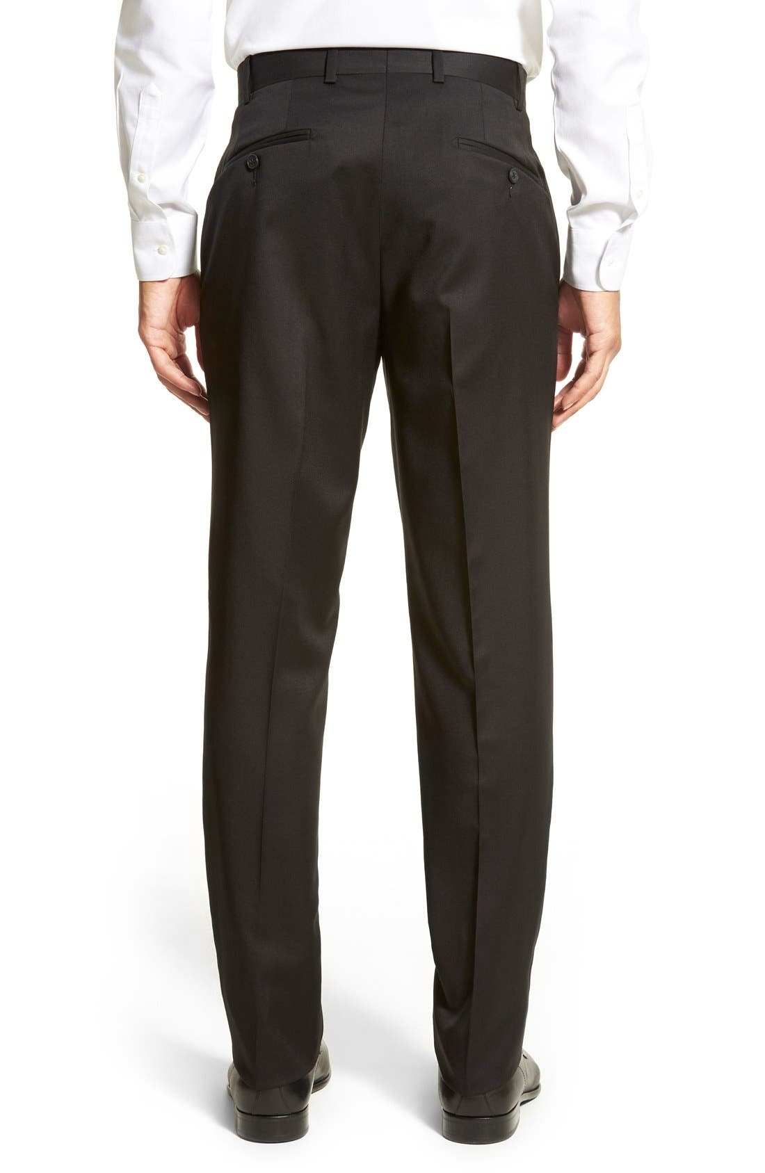 DI MILANO UOMO,                             'Torino' Flat Front Solid Wool Trousers,                             Alternate thumbnail 5, color,                             001