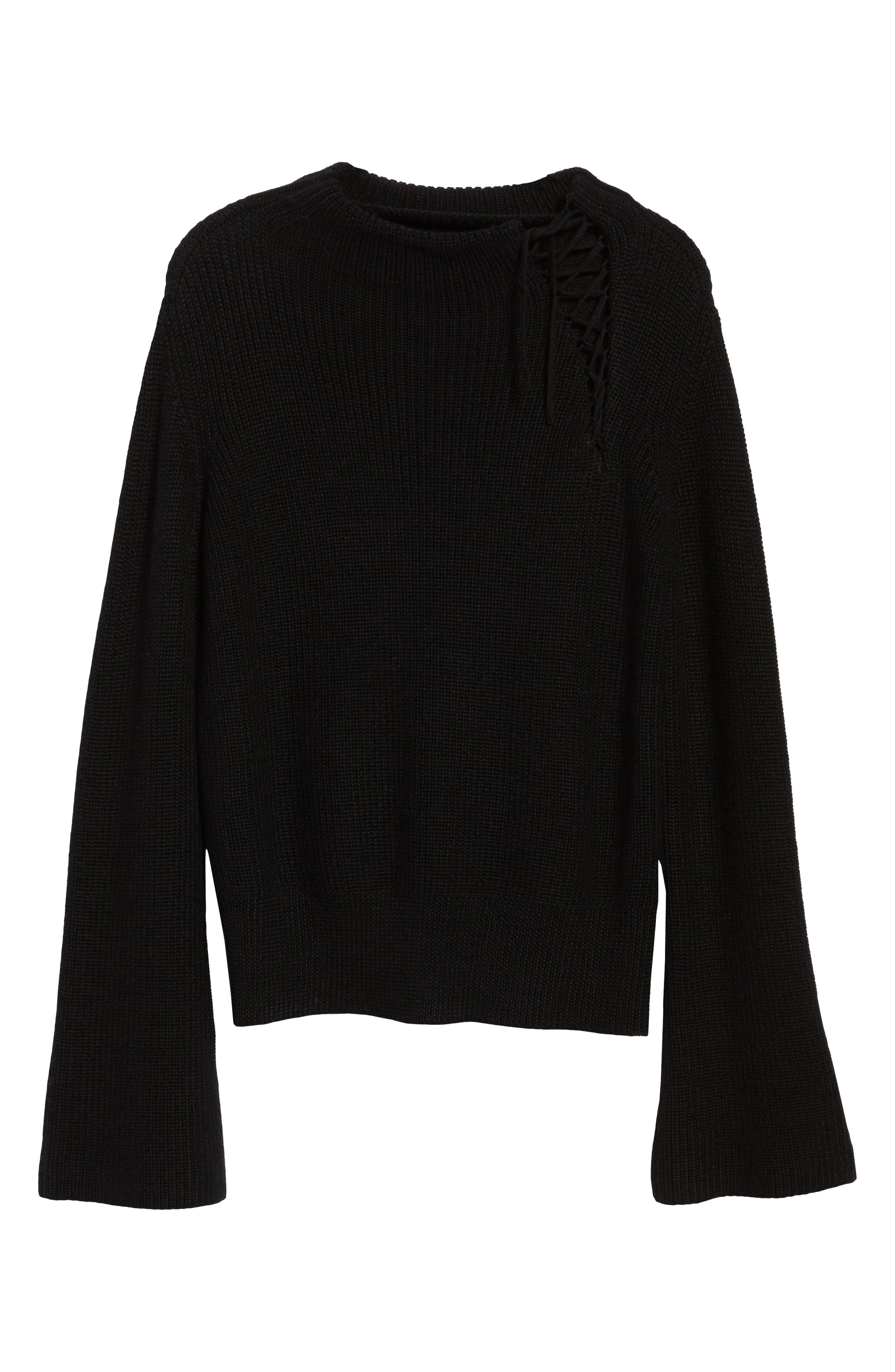 Gracey Mock Neck Sweater,                             Alternate thumbnail 6, color,                             001