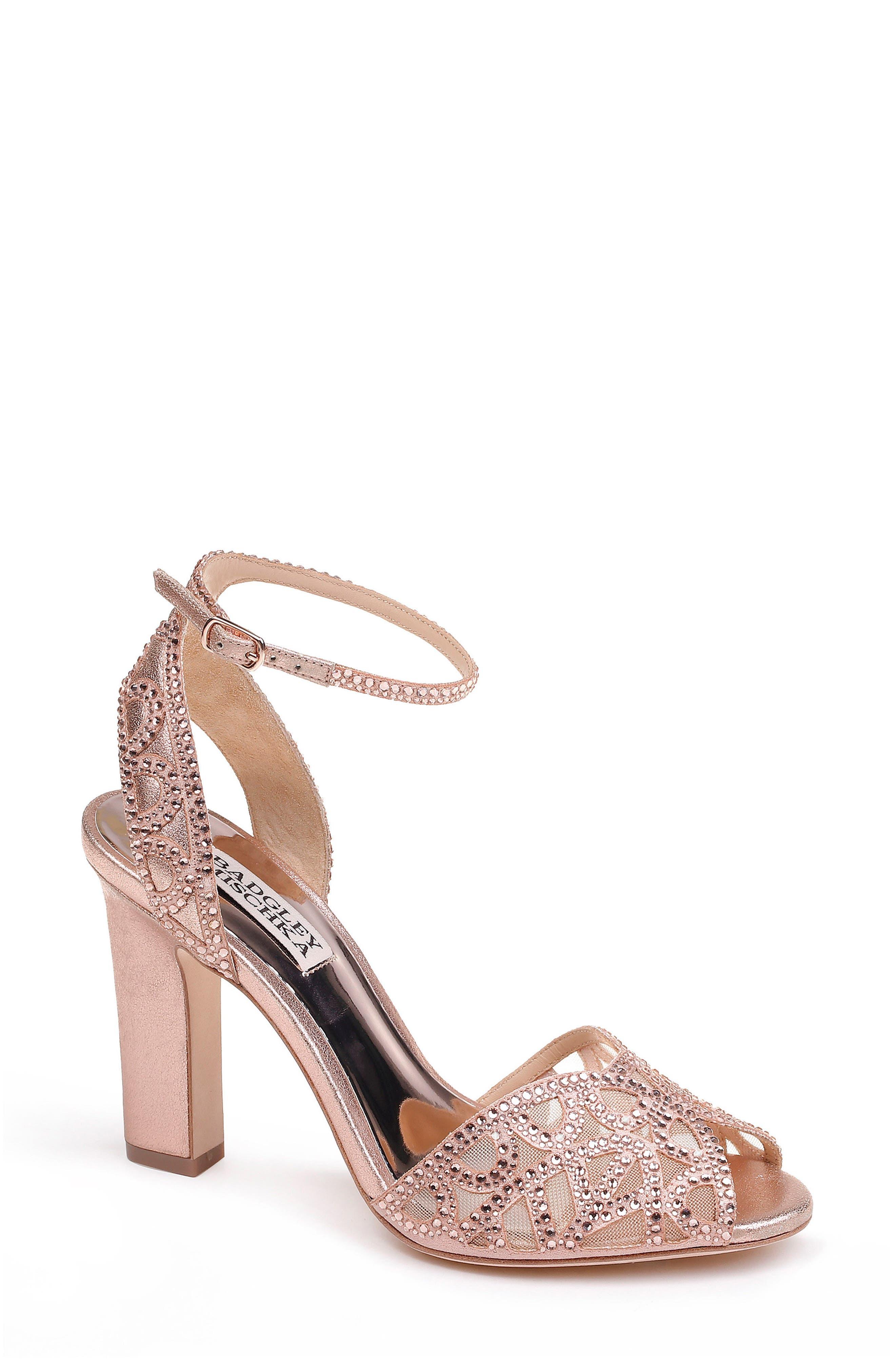 Hart Crystal Embellished Sandal,                             Main thumbnail 1, color,                             ROSE GOLD METALLIC SUEDE