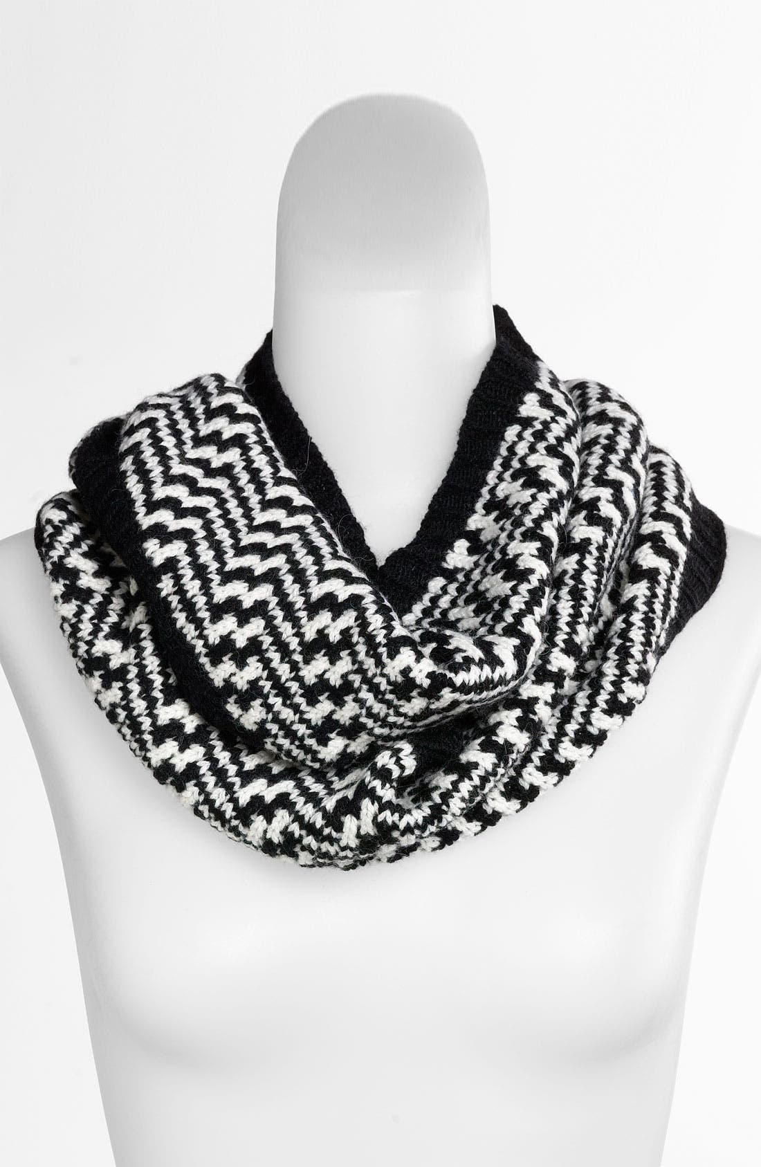 'Lux' Zigzag Infinity Scarf,                             Main thumbnail 1, color,                             001