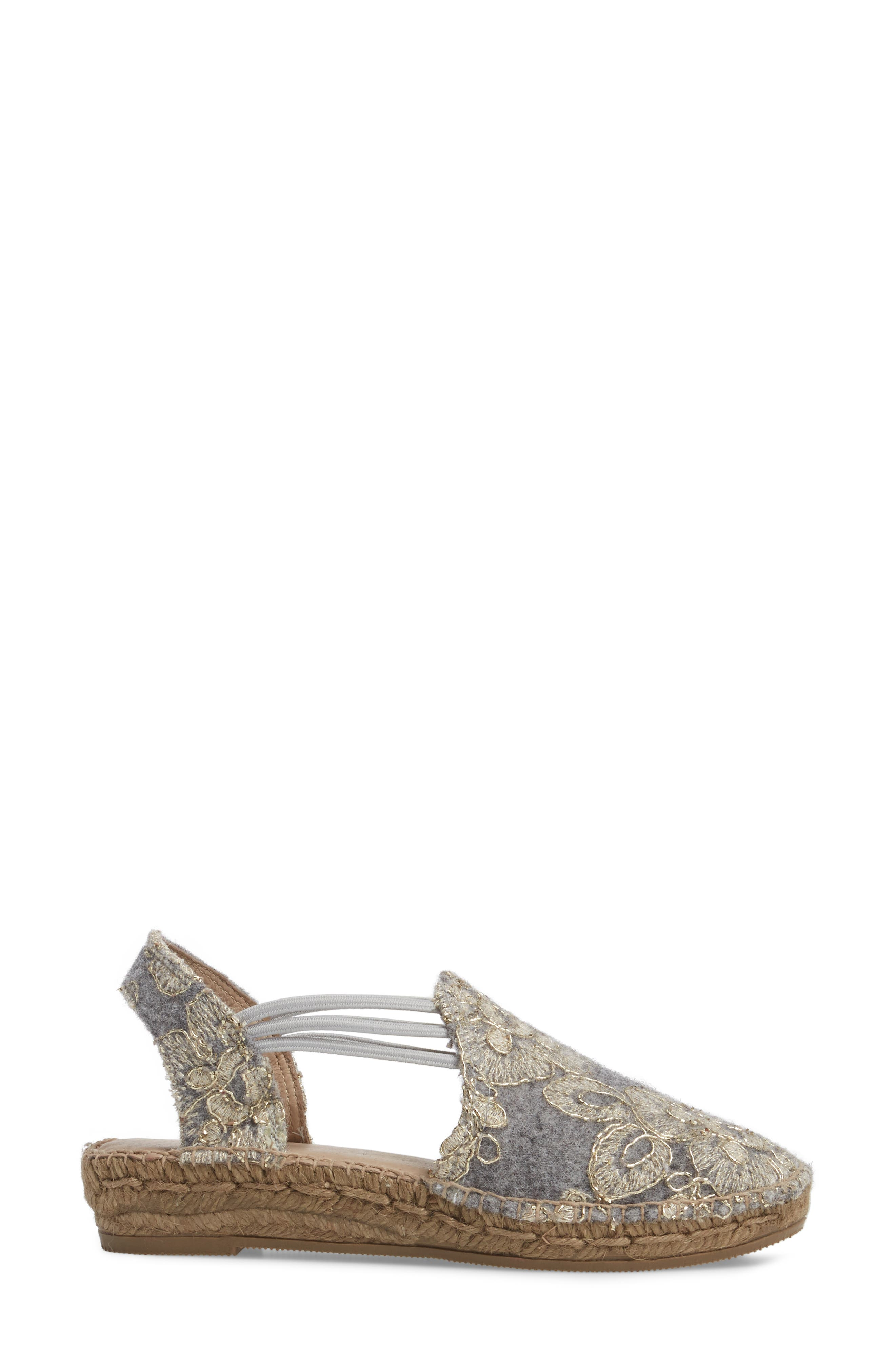 Metz Embroidered Espadrille Wedge,                             Alternate thumbnail 3, color,                             020