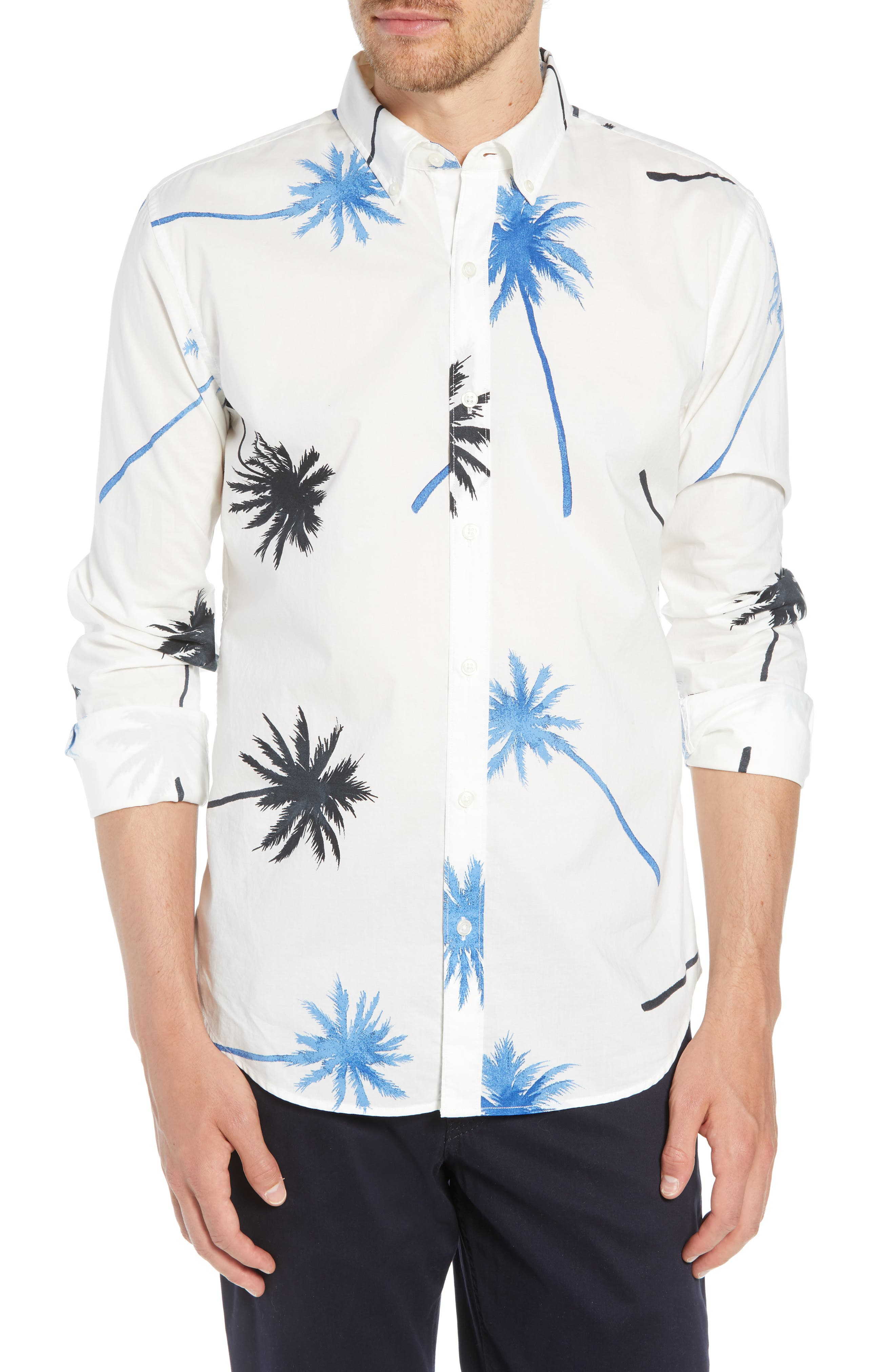Summerweight Slim Fit Palm Print Sport Shirt,                         Main,                         color, PALM TREE VIEW - GALAXY BLUE