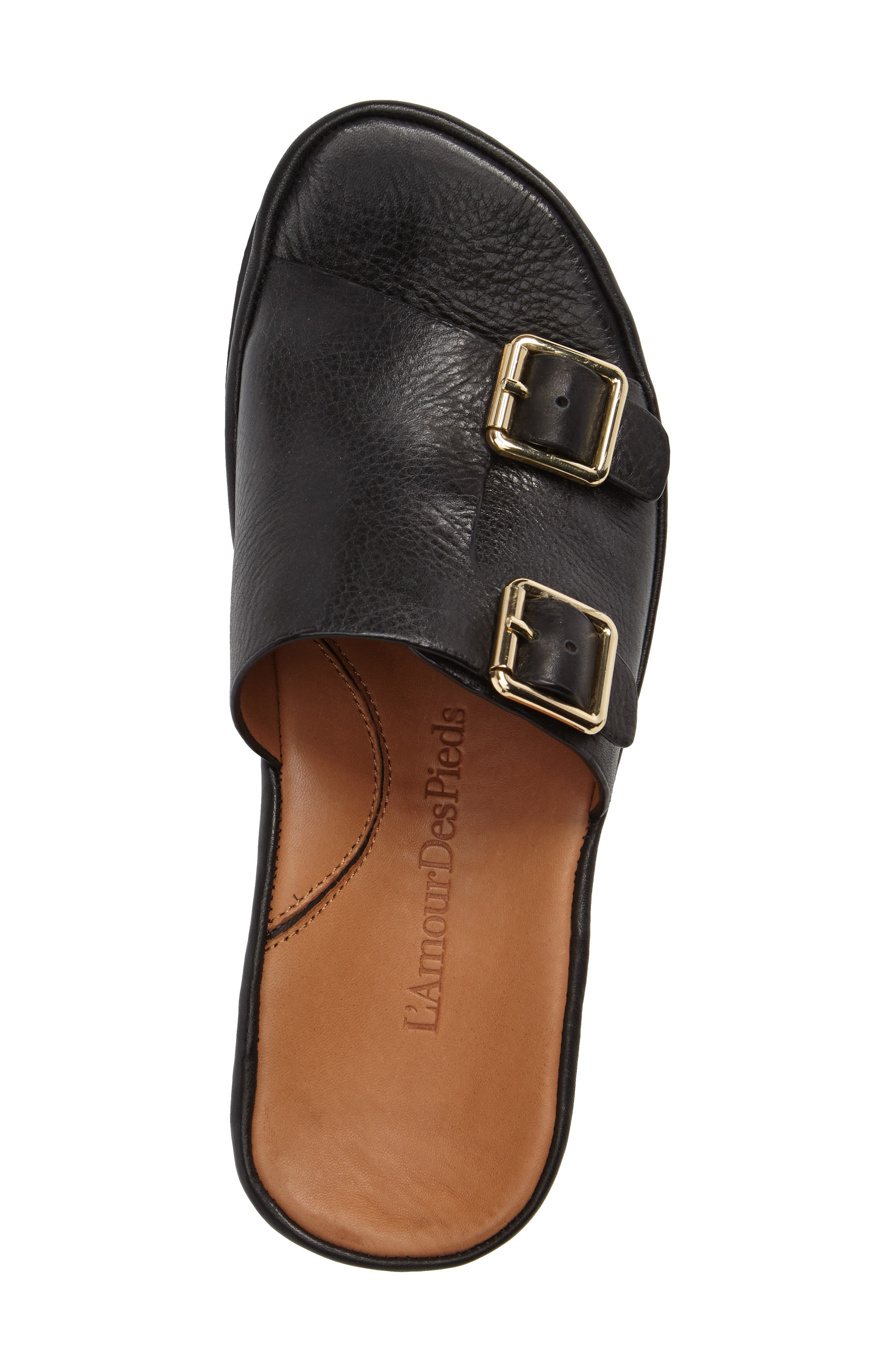 Viareggio Slide Sandal,                             Alternate thumbnail 3, color,                             BLACK LEATHER