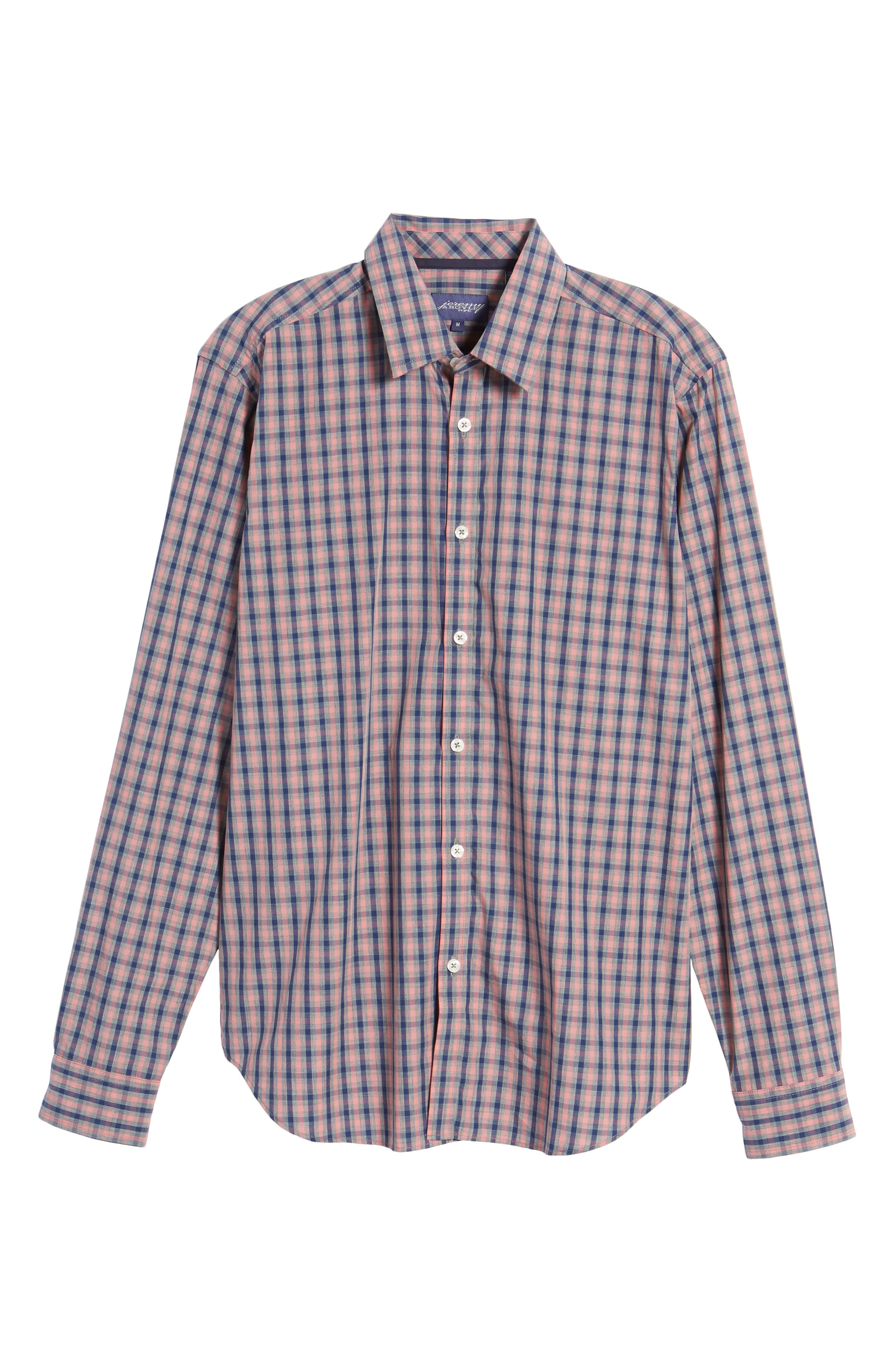 Fitted Plaid Sport Shirt,                             Alternate thumbnail 6, color,