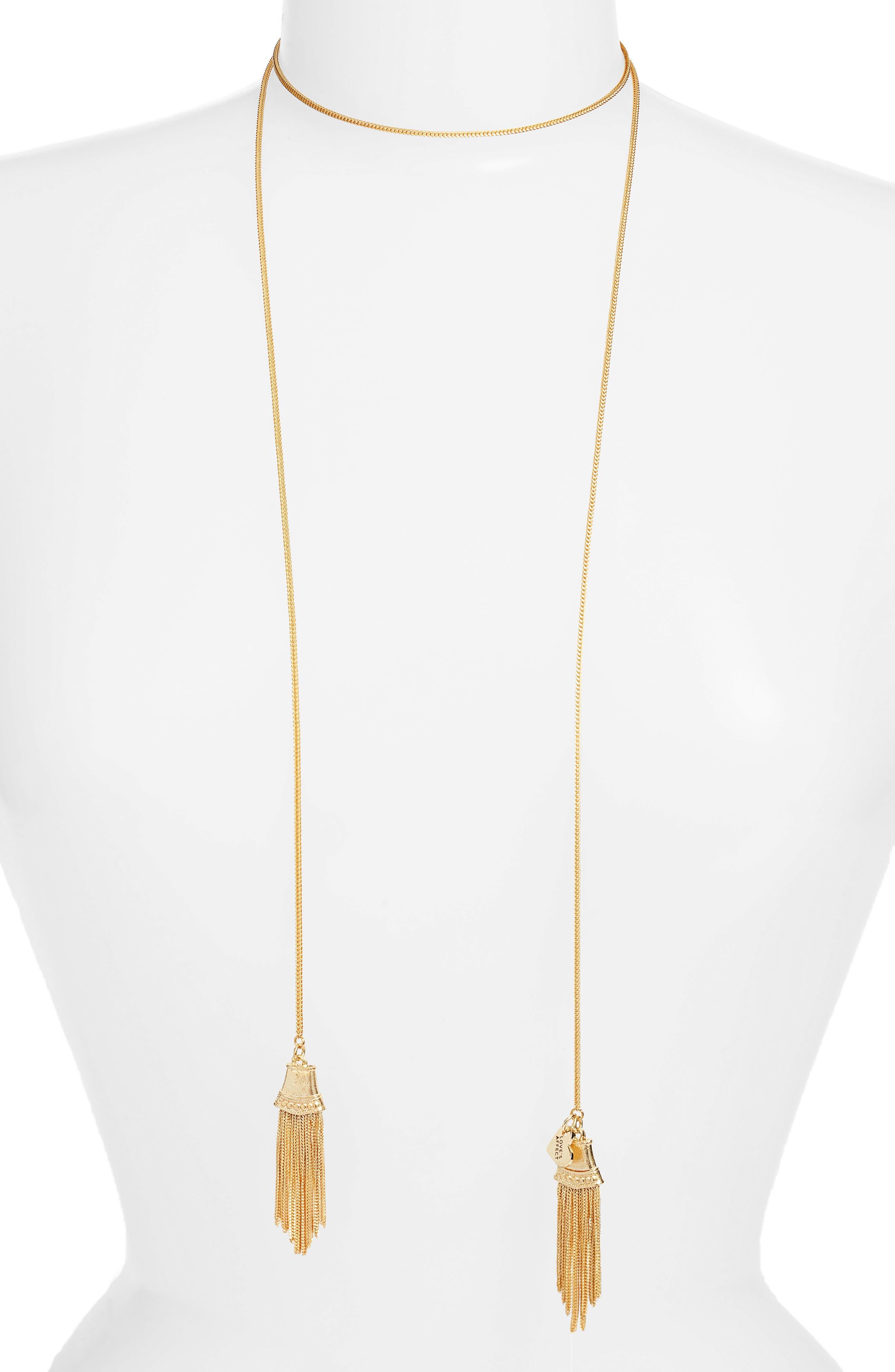 Love's Affect Brielle Tassel Wrap Necklace,                             Main thumbnail 1, color,                             GOLD